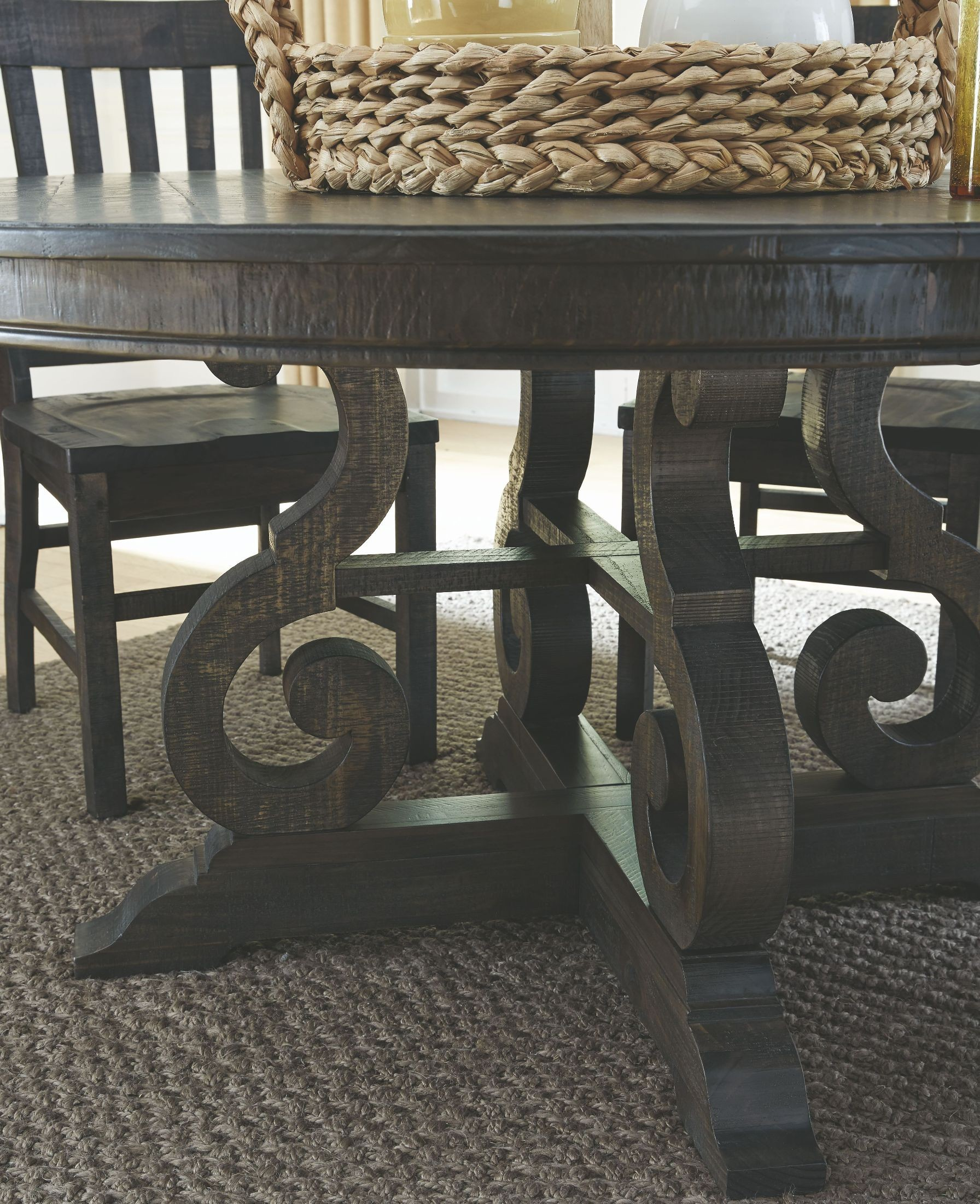 Bellamy Deep Weathered Pine Round Dining Table