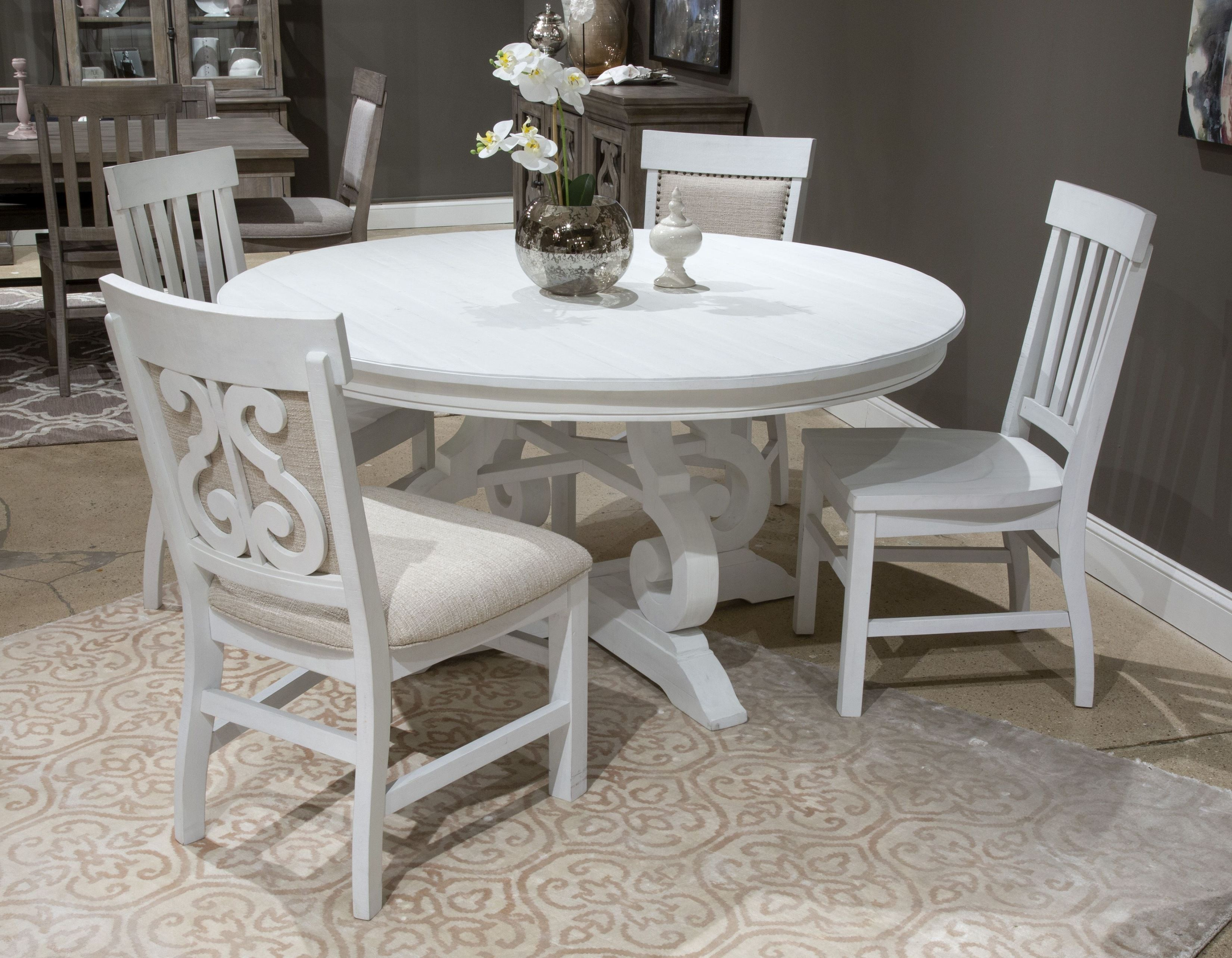 Bronwyn Chalk White 60 Round Dining, White Wood Dining Room Sets