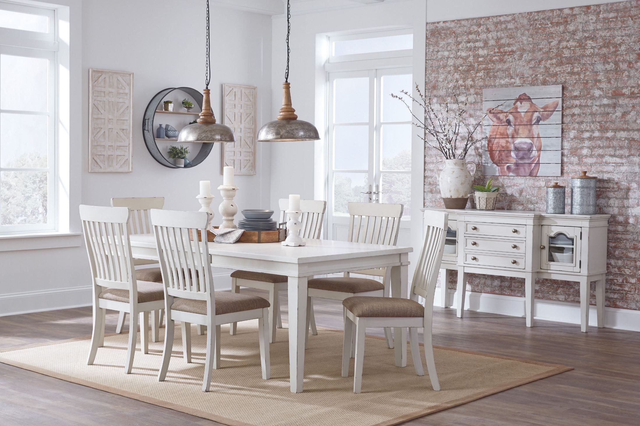 Danbeck Light Brown and White Dining Upholstered Side ...