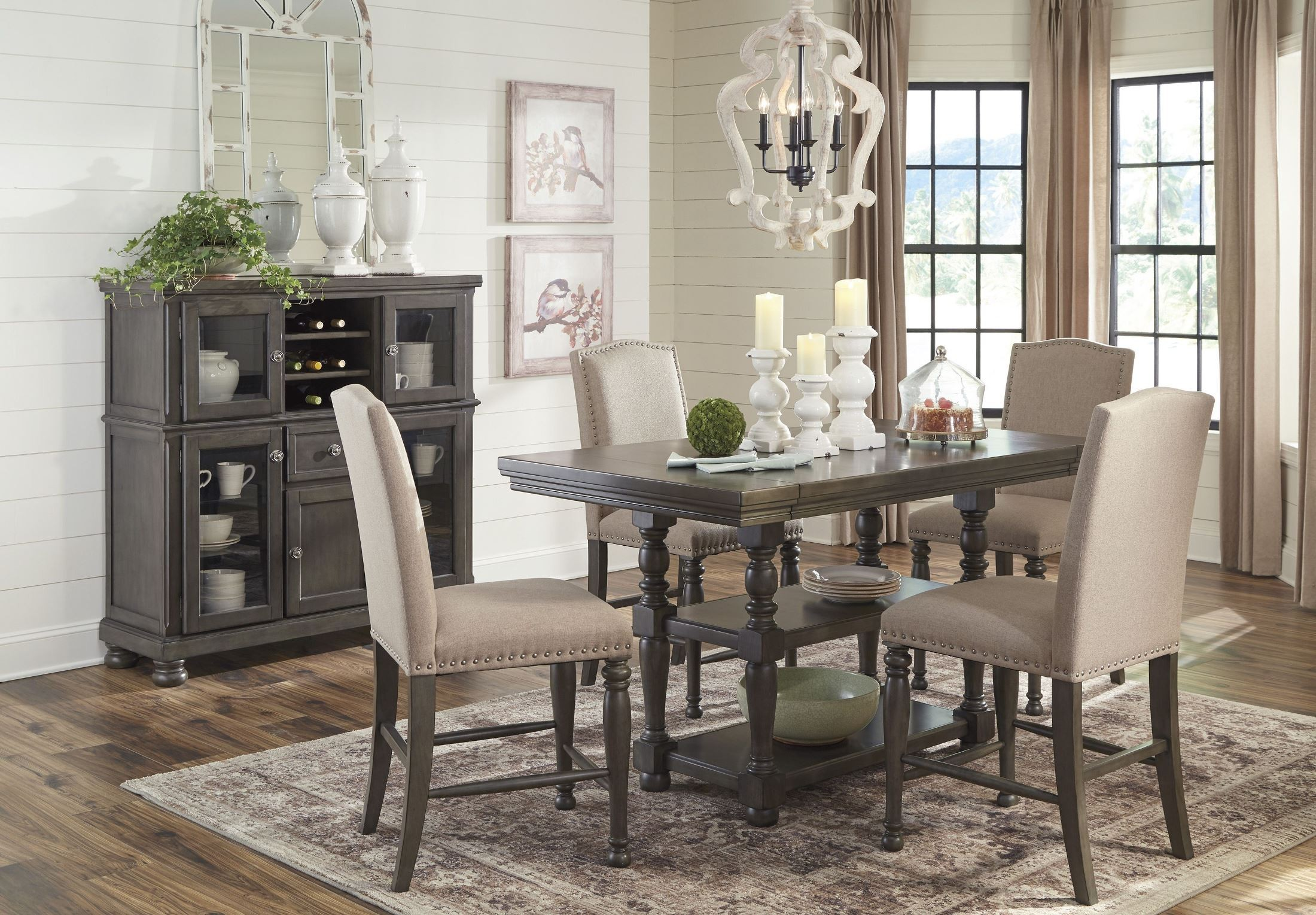 Audberry Gray Rectangular Extendable Counter Height Dining Room Set