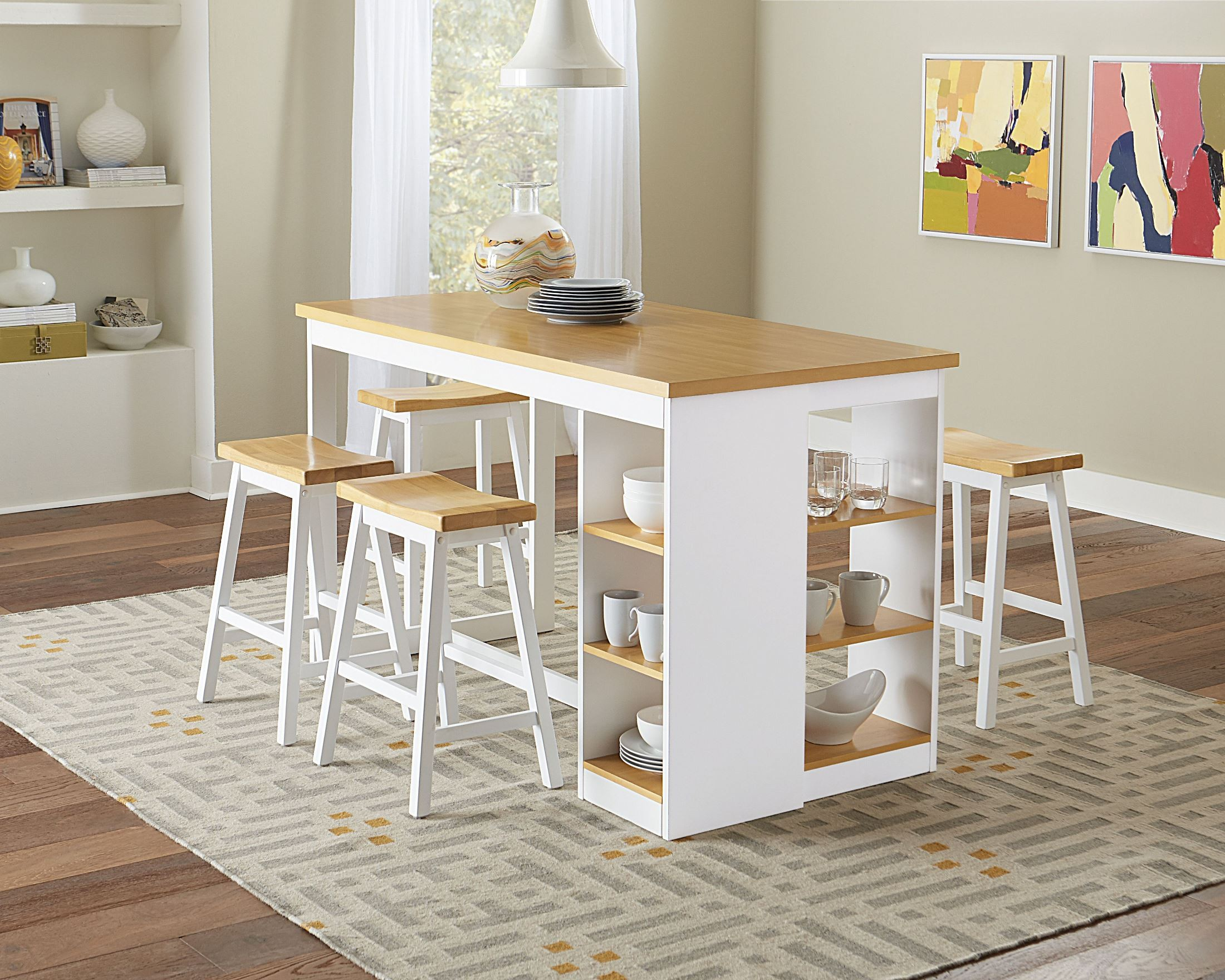 Christy Oak and White Storage Counter Height Dining Table