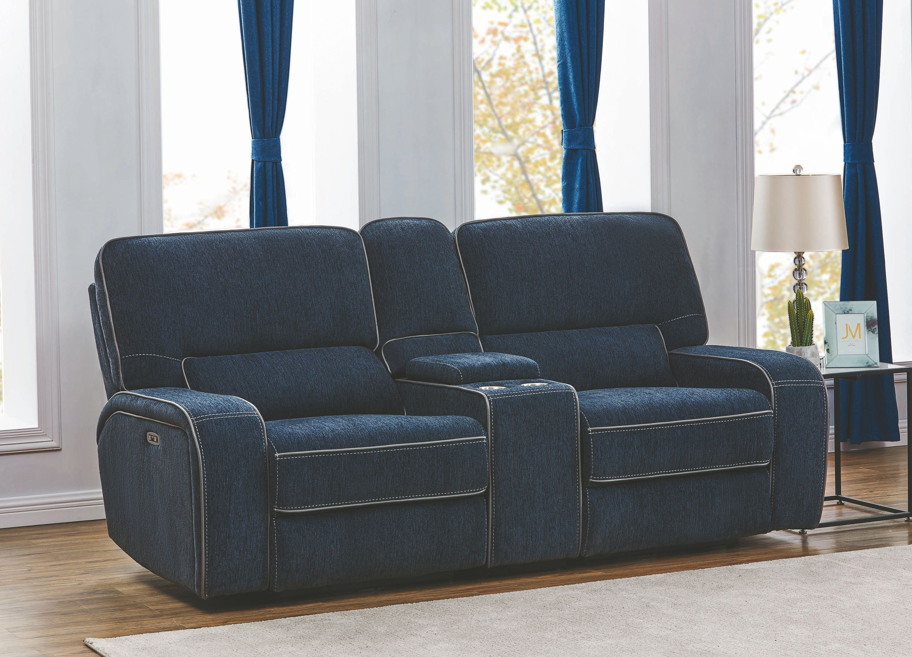 Dundee Navy Blue Power Reclining Loveseat With Power Headrest 1stopbedrooms