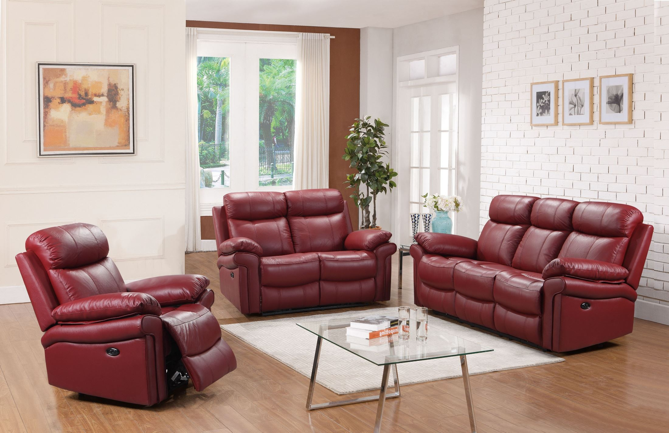 Leather Italia USA Shae Joplin Red Leather Power Reclining Living ...