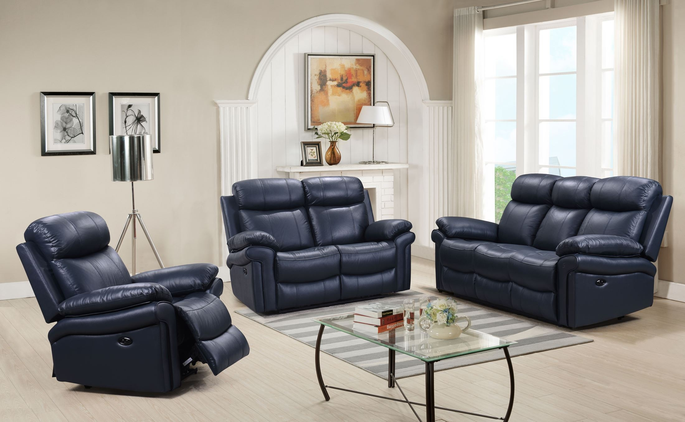 Shae Joplin Blue Leather Power Reclining Sofa 1stopbedrooms
