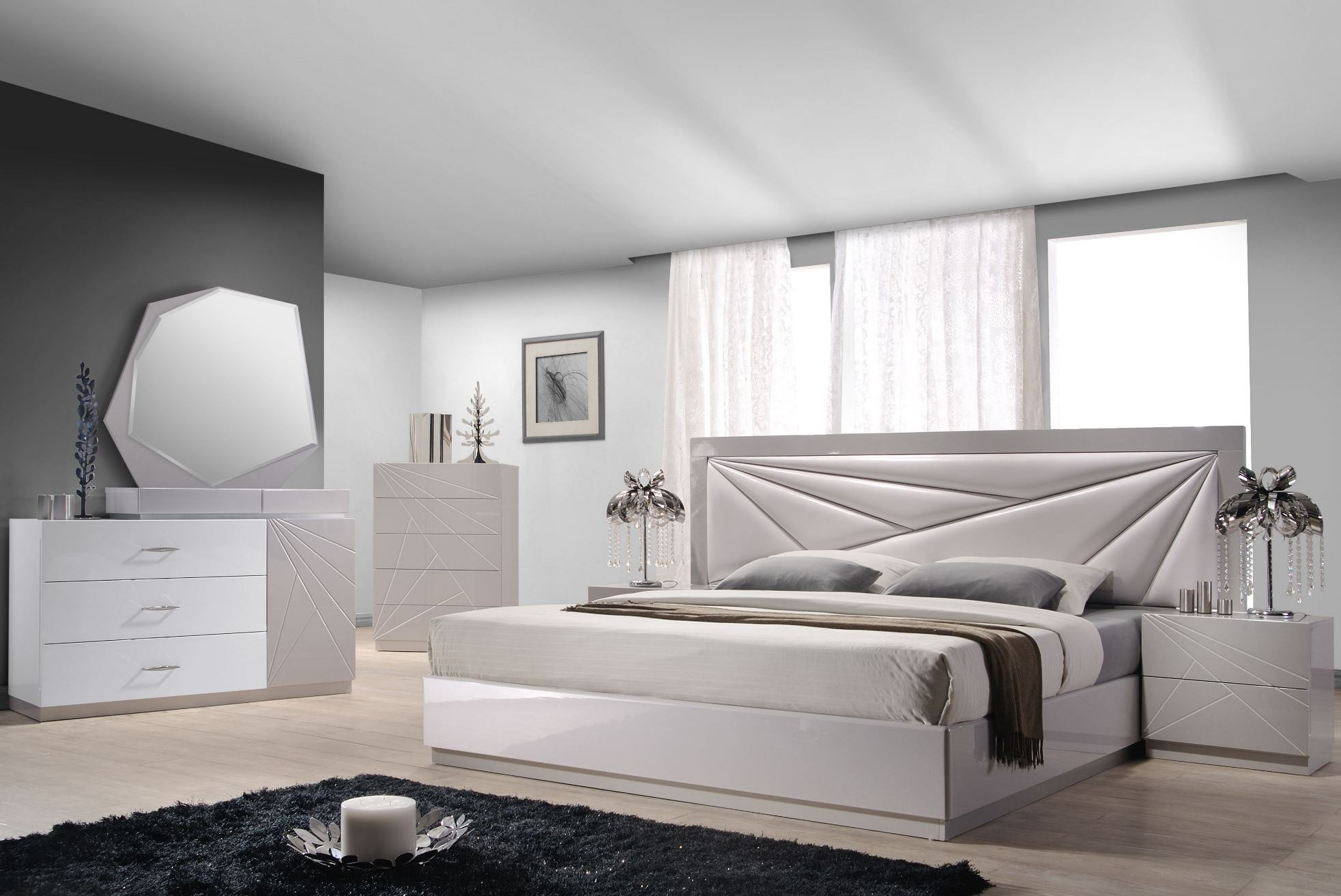 Florence White And Light Grey Lacquer Platform Bedroom Set 1stopbedrooms