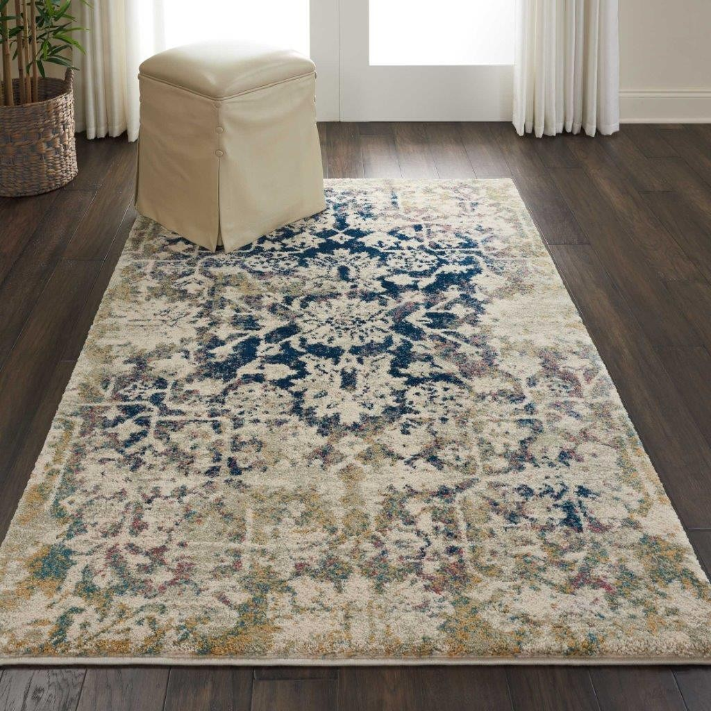 Fusion Cream And Blue 4 X 6 Area Rug - 1Stopbedrooms-9165