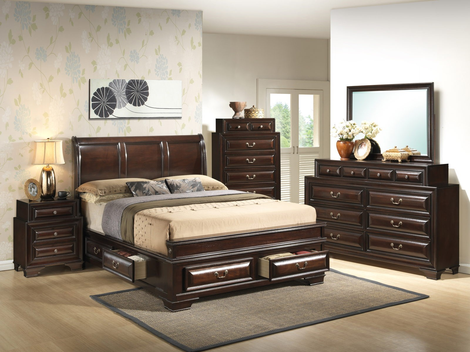 Glory Furniture G8875 Six Drawer Bedroom Set In Cappuccino