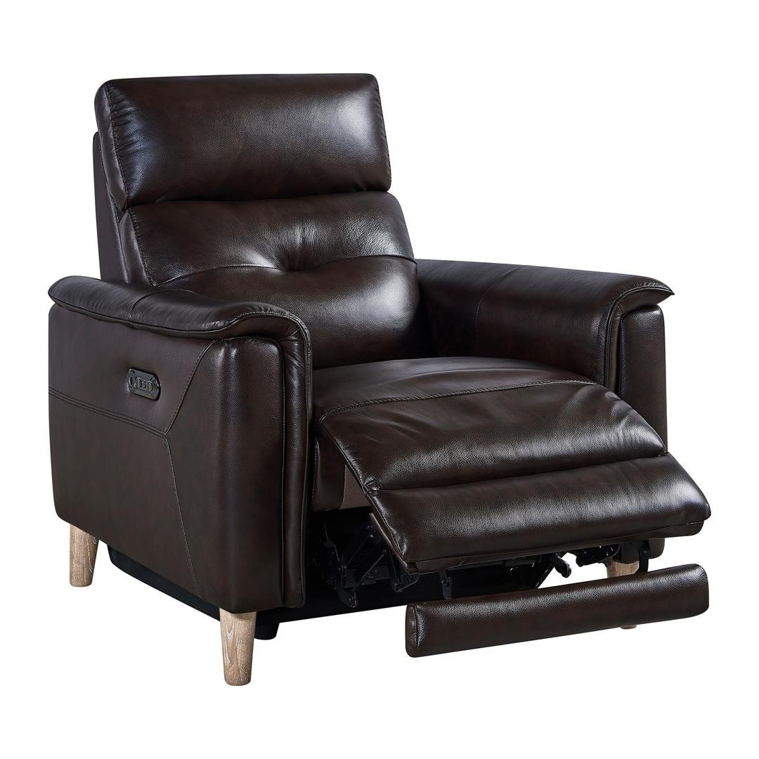 Gala Dark Brown Genuine Leather Reclining Chair 1stopbedrooms