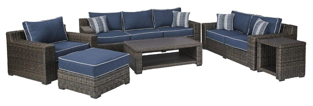 Grasson Lane Brown and Blue Outdoor Living Room Set with ... on Outdoor Living Room Set id=45196