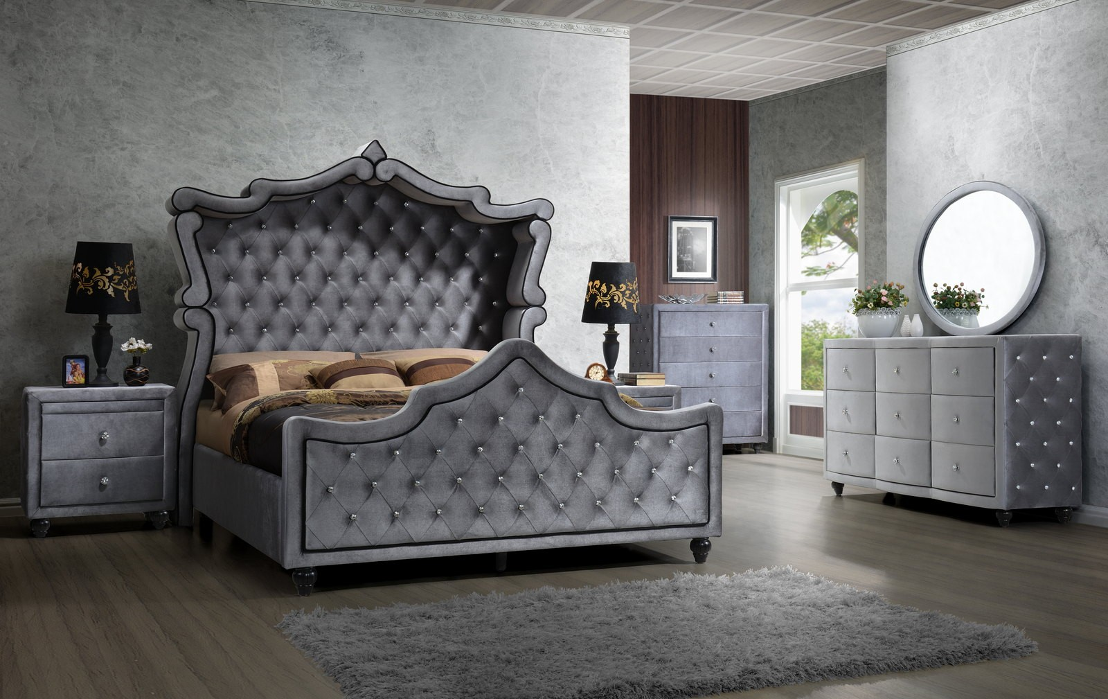 Meridian Hudson Canopy Bedroom Set in Grey Media Gallery