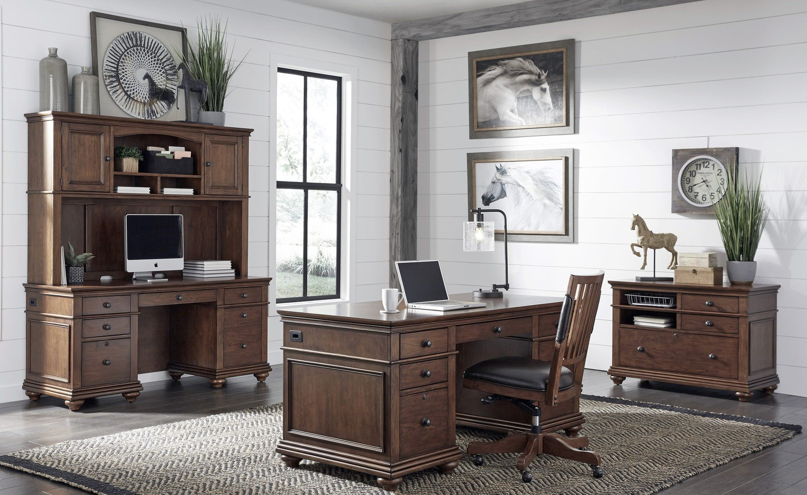 Aspenhome Oxford 66 Executive Desk In Whiskey Brown I07