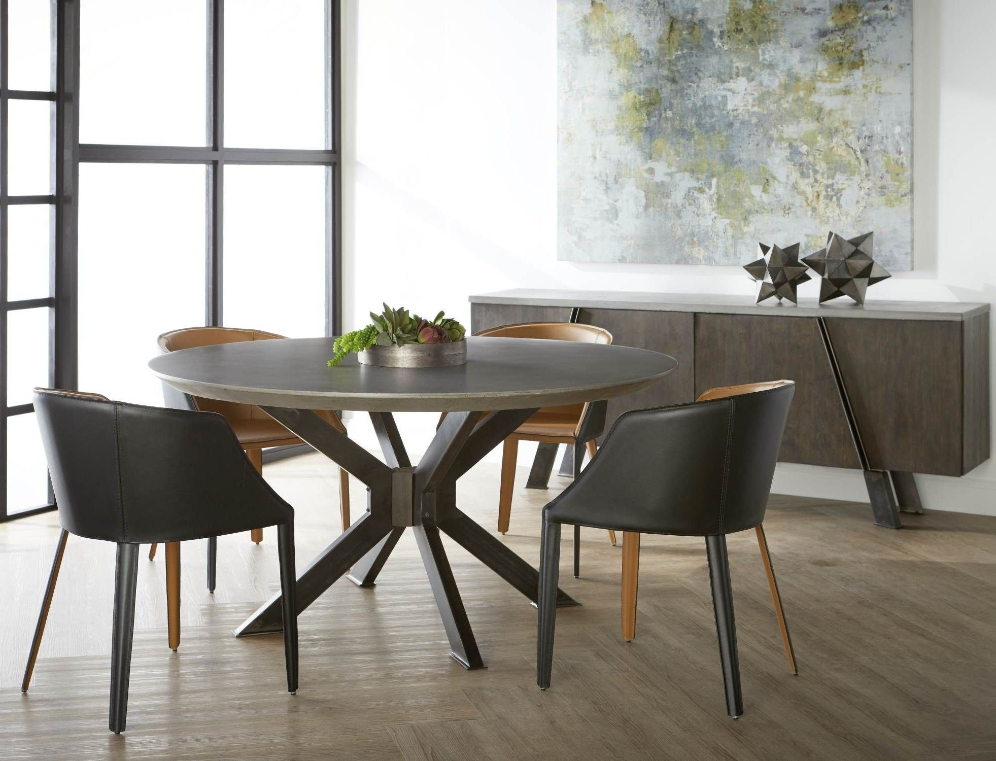 Industry ash grey concrete round dining table media gallery 4