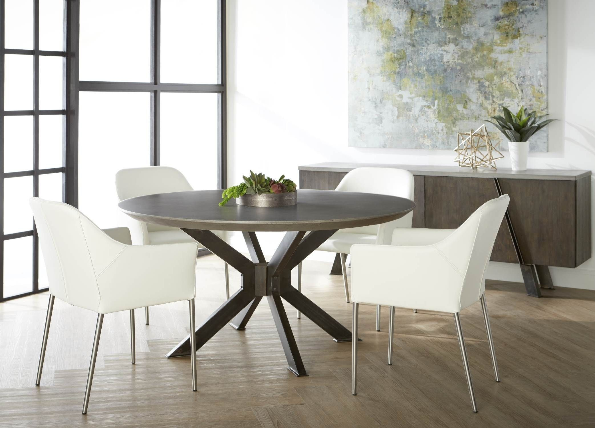 Industry Ash Grey Concrete Round Dining Room Set With