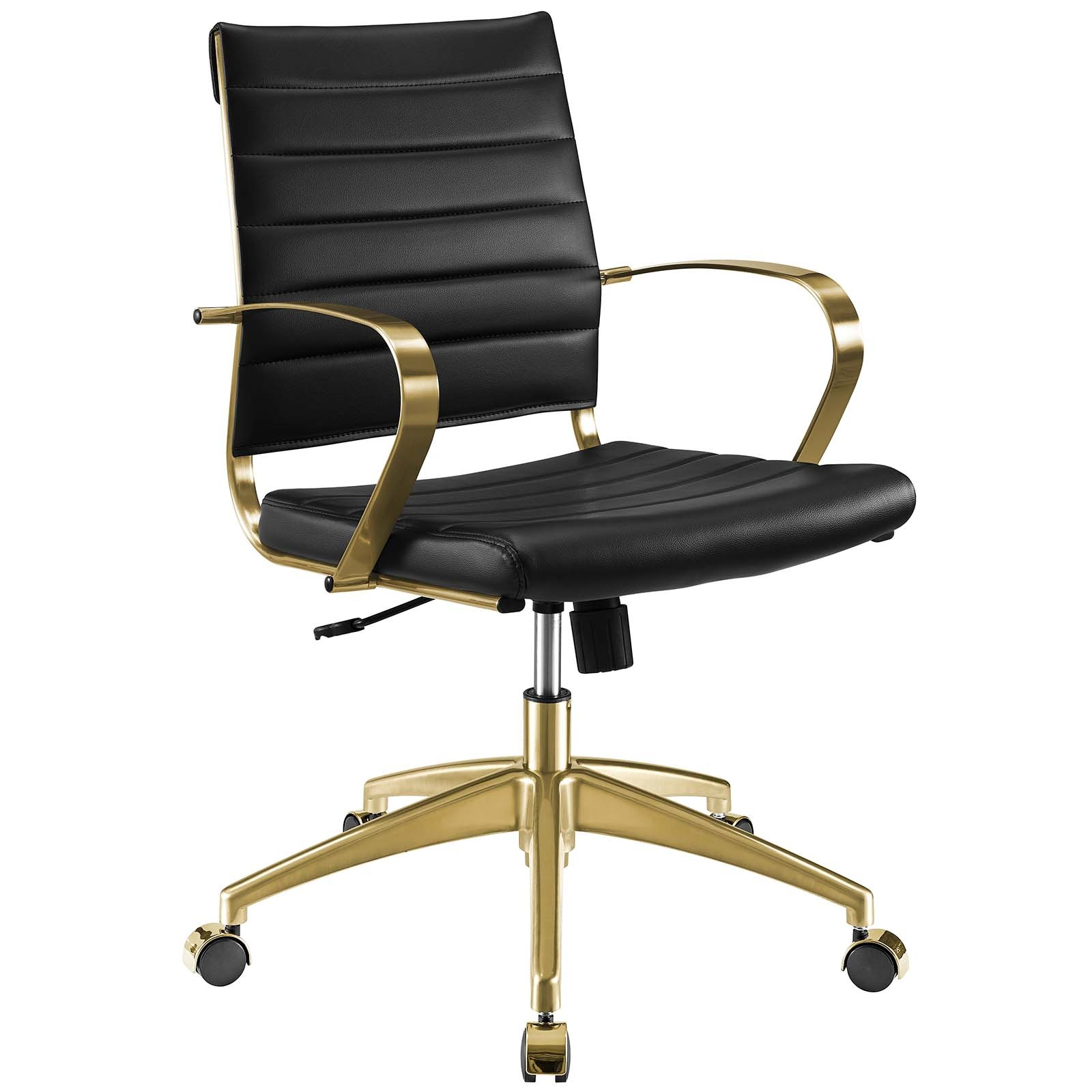 Jive Gold And Black Gold Stainless Steel Midback Office Chair Eei 3418 Gld Blk 1stopbedrooms