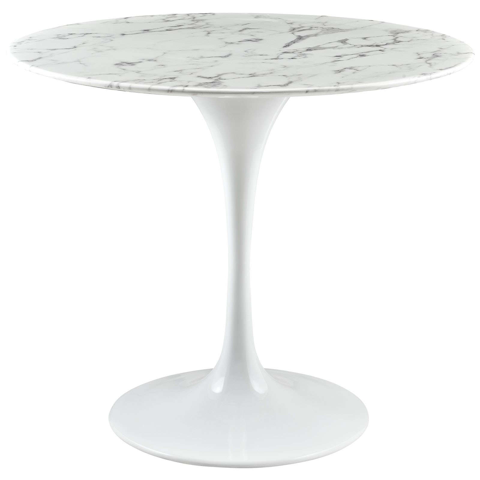 Lippa White 36 Inch Round Artificial Marble Dining Table Eei 1129 Whi 1stopbedrooms