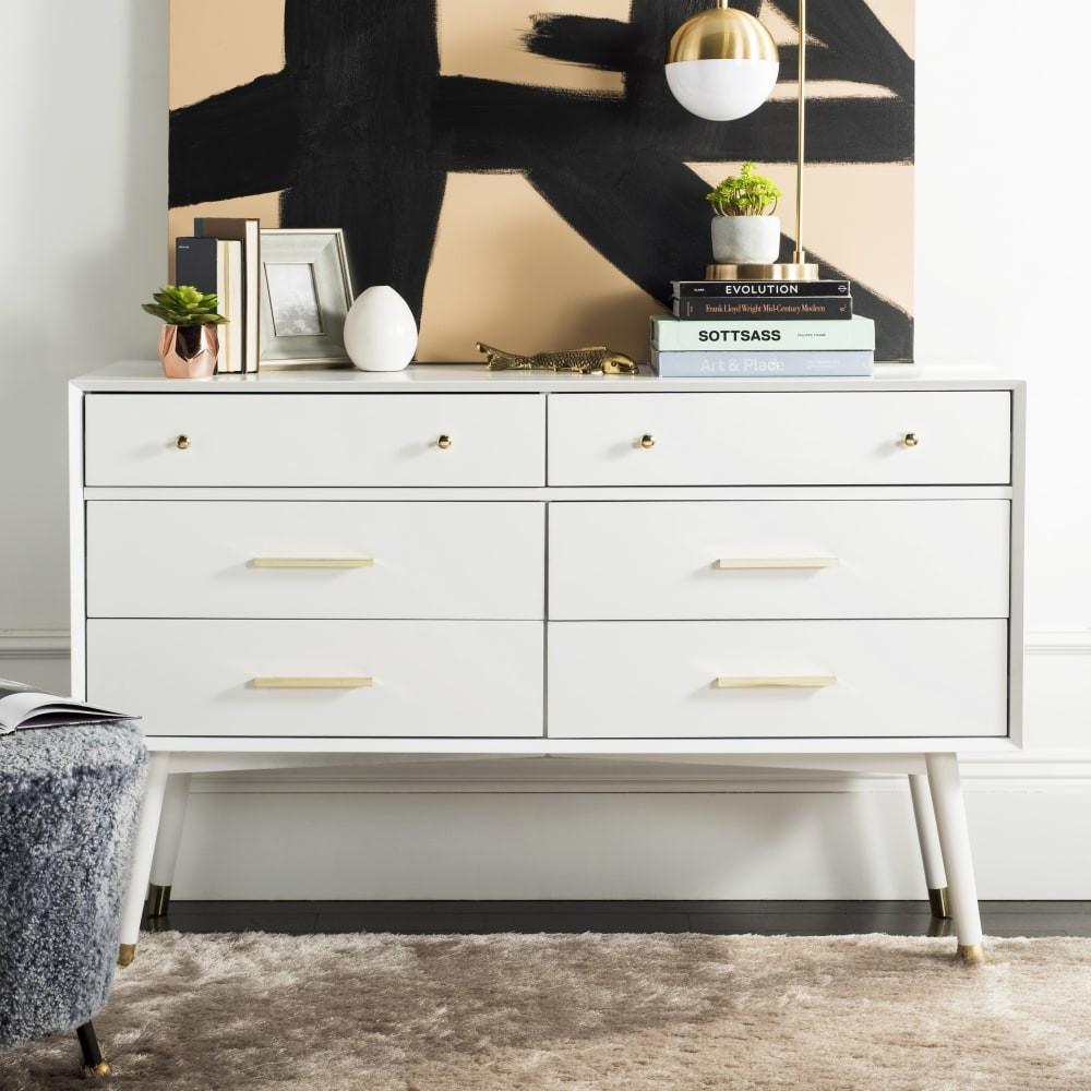 Madden White And Brass Retro Dresser 1stopbedrooms