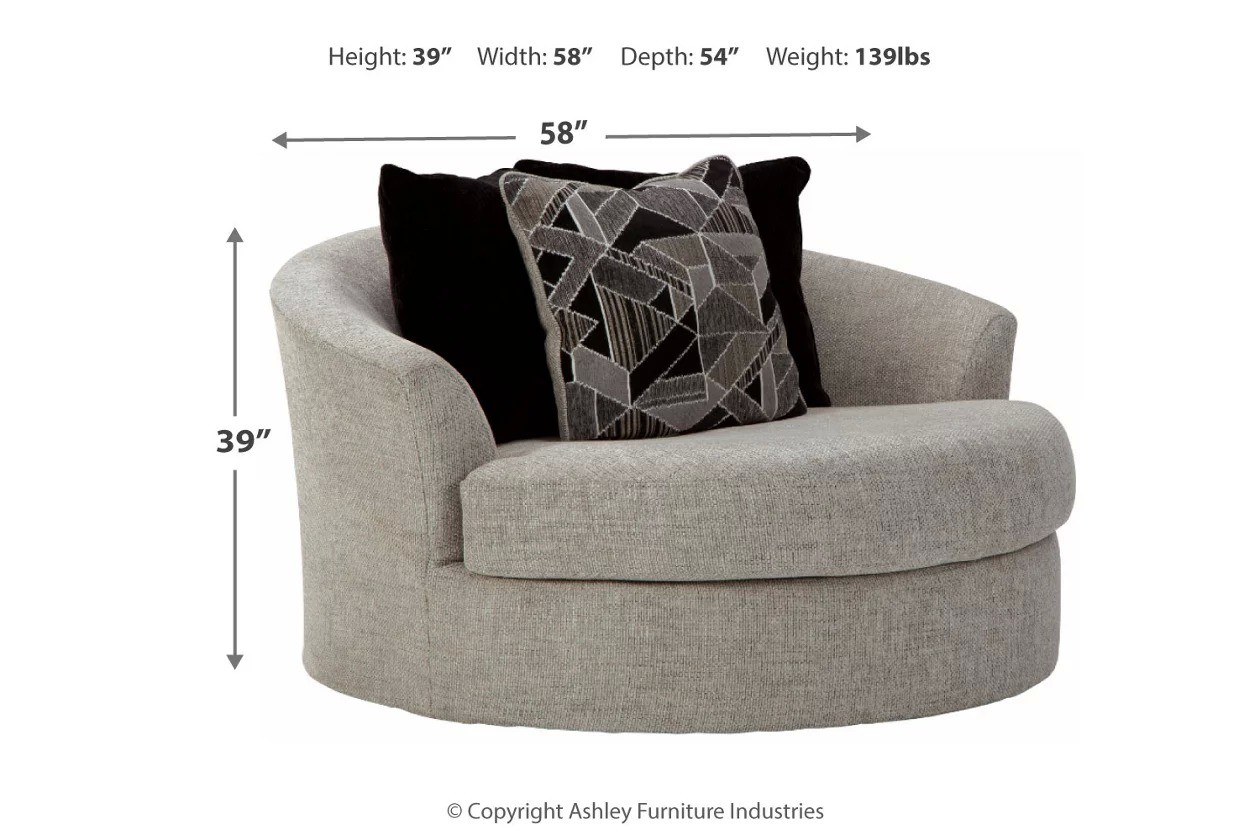 Image of: Megginson Storm Oversized Round Swivel Chair 1stopbedrooms