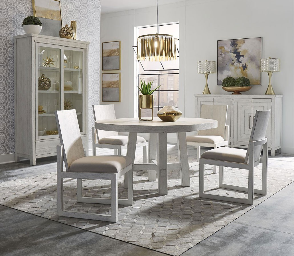 Modern Farmhouse Round Dining Room Set Aged White 1stopbedrooms