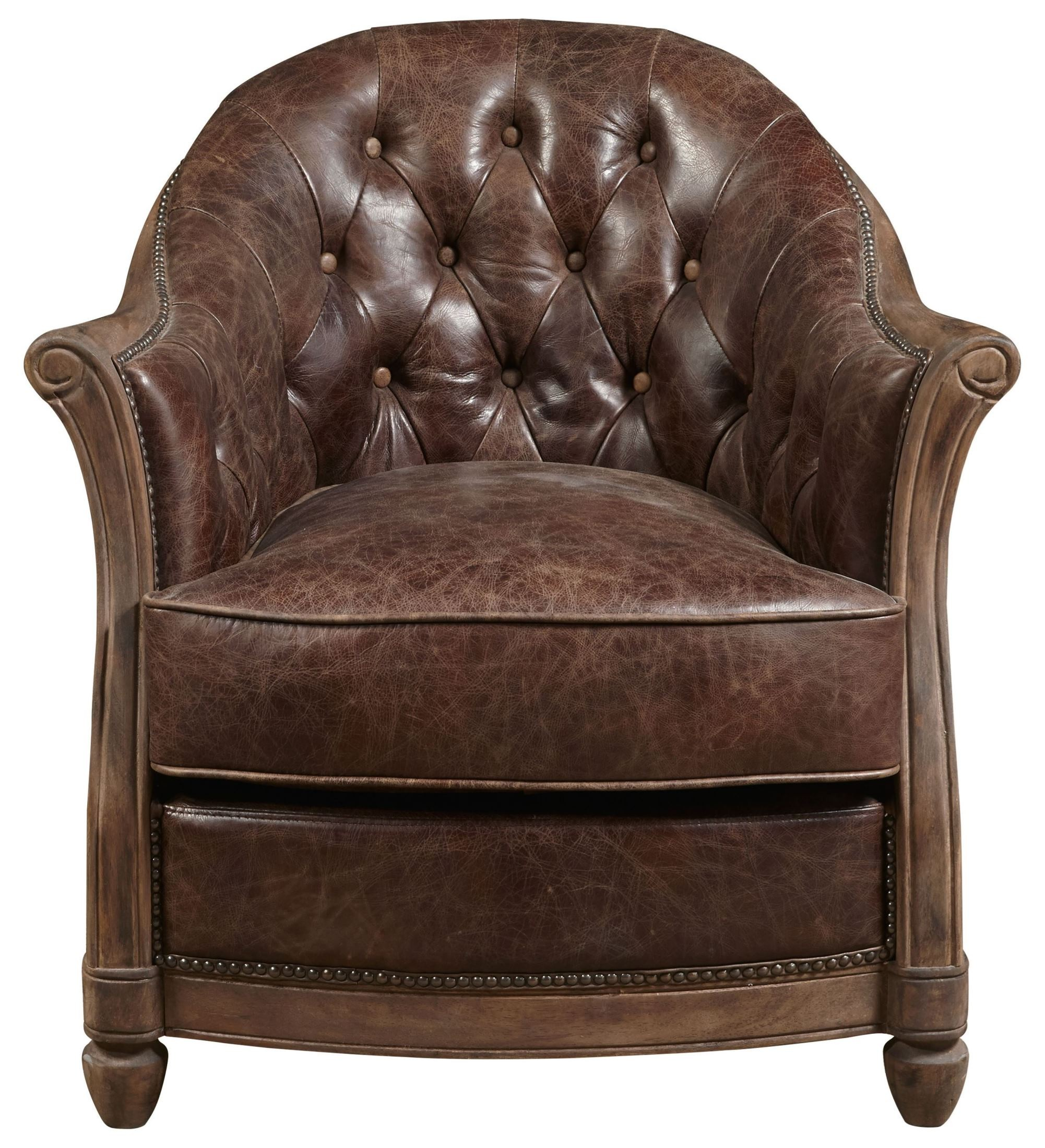 Amron Brown Leather Accent Chair Accent Chairs Brown: Andrew Brown Leather Accent Chair