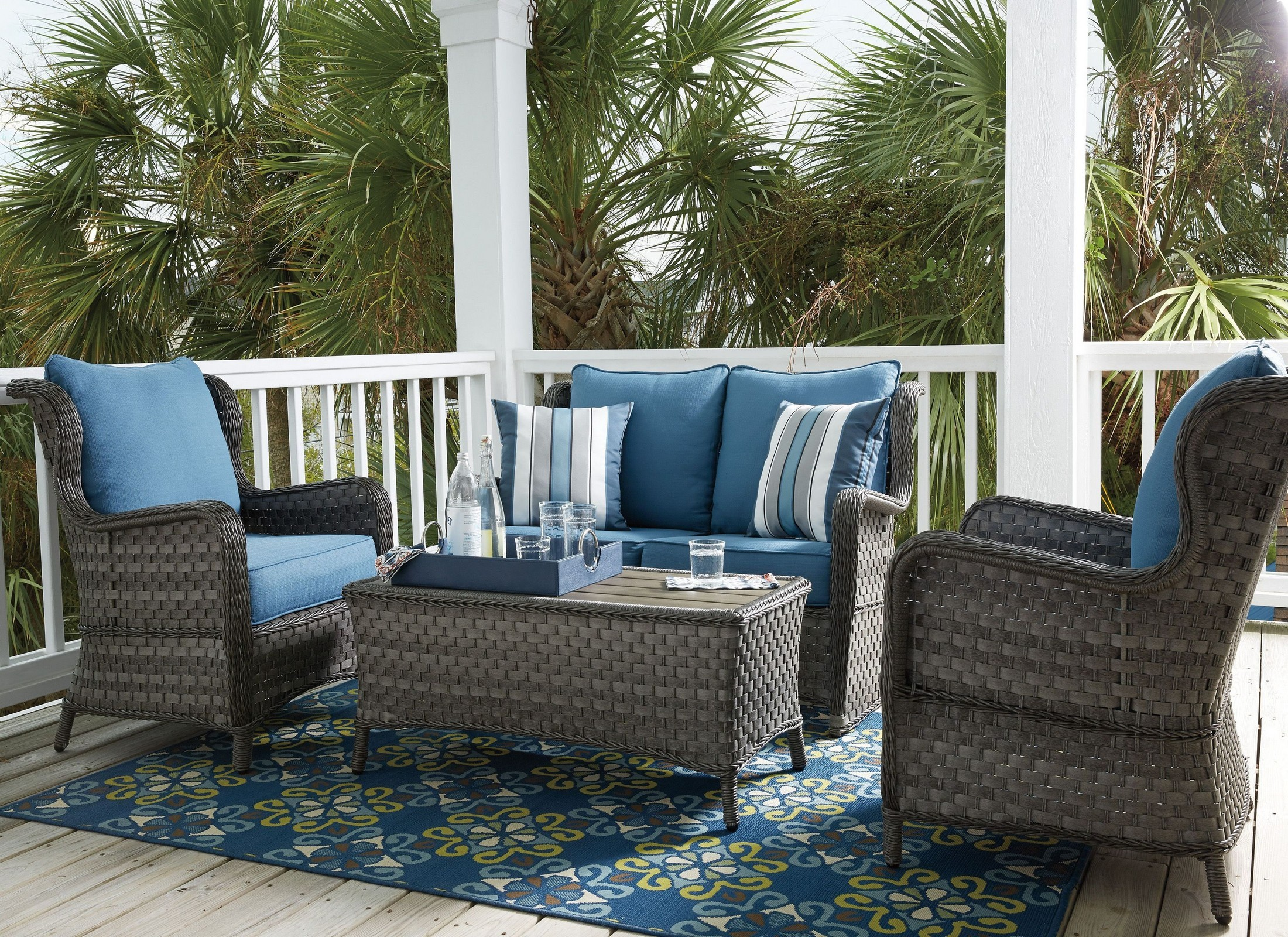 Abbots Court Blue and Gray Outdoor Conversation Set Media Gallery