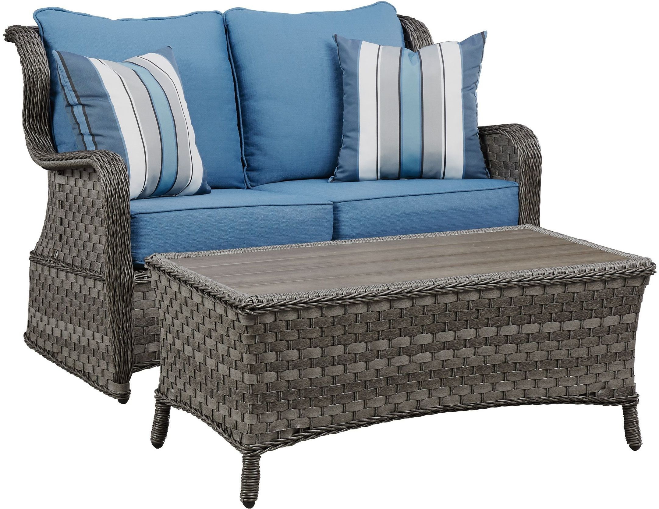 Abbots Court Blue and Gray Outdoor Conversation Set Media Gallery 5
