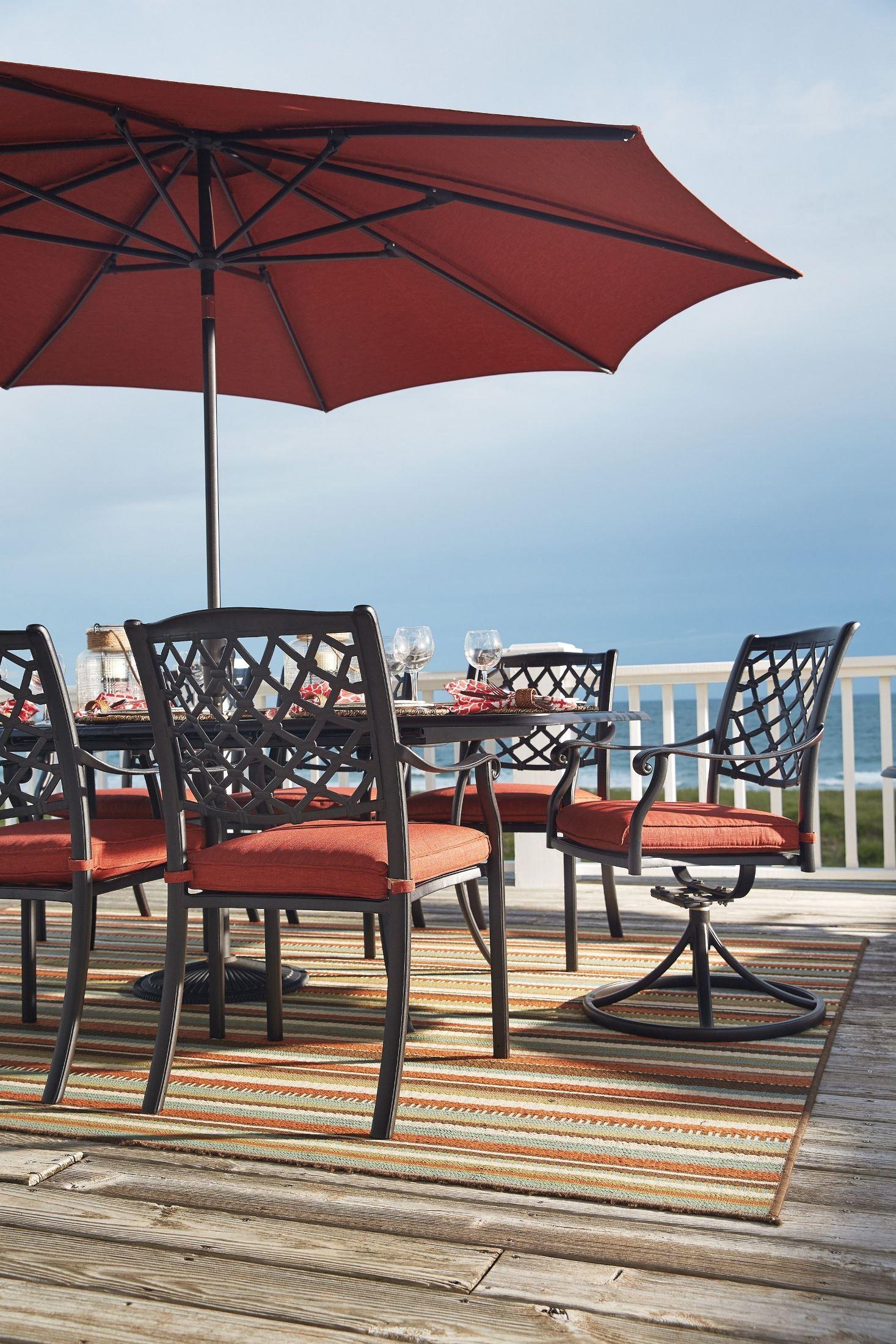 Miraculous Tanglevale Burnt Orange Outdoor Extendable Rectangular Dining Table Download Free Architecture Designs Momecebritishbridgeorg