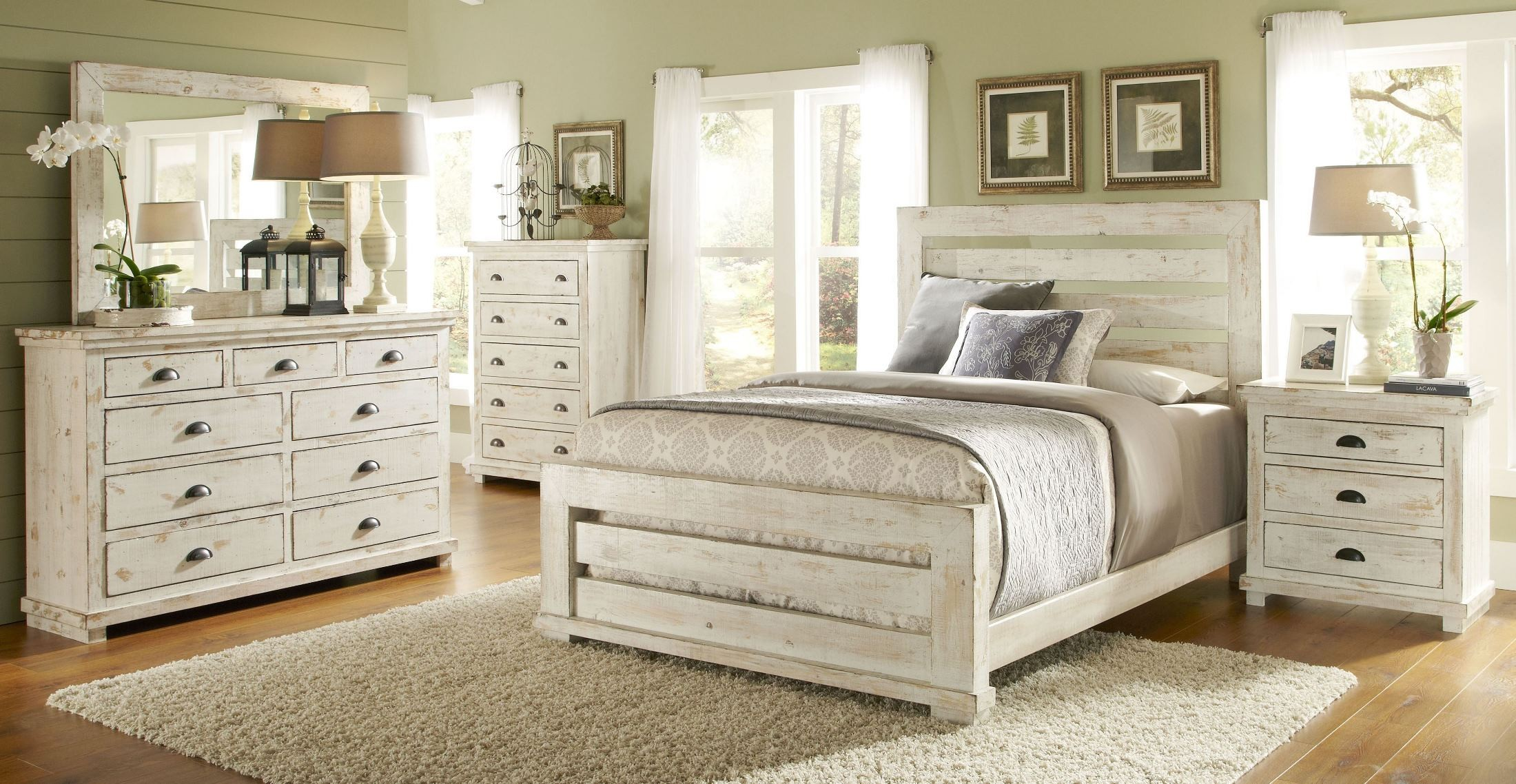 Willow distressed white slat bedroom set 1stopbedrooms - Bedroom furniture sets buy now pay later ...