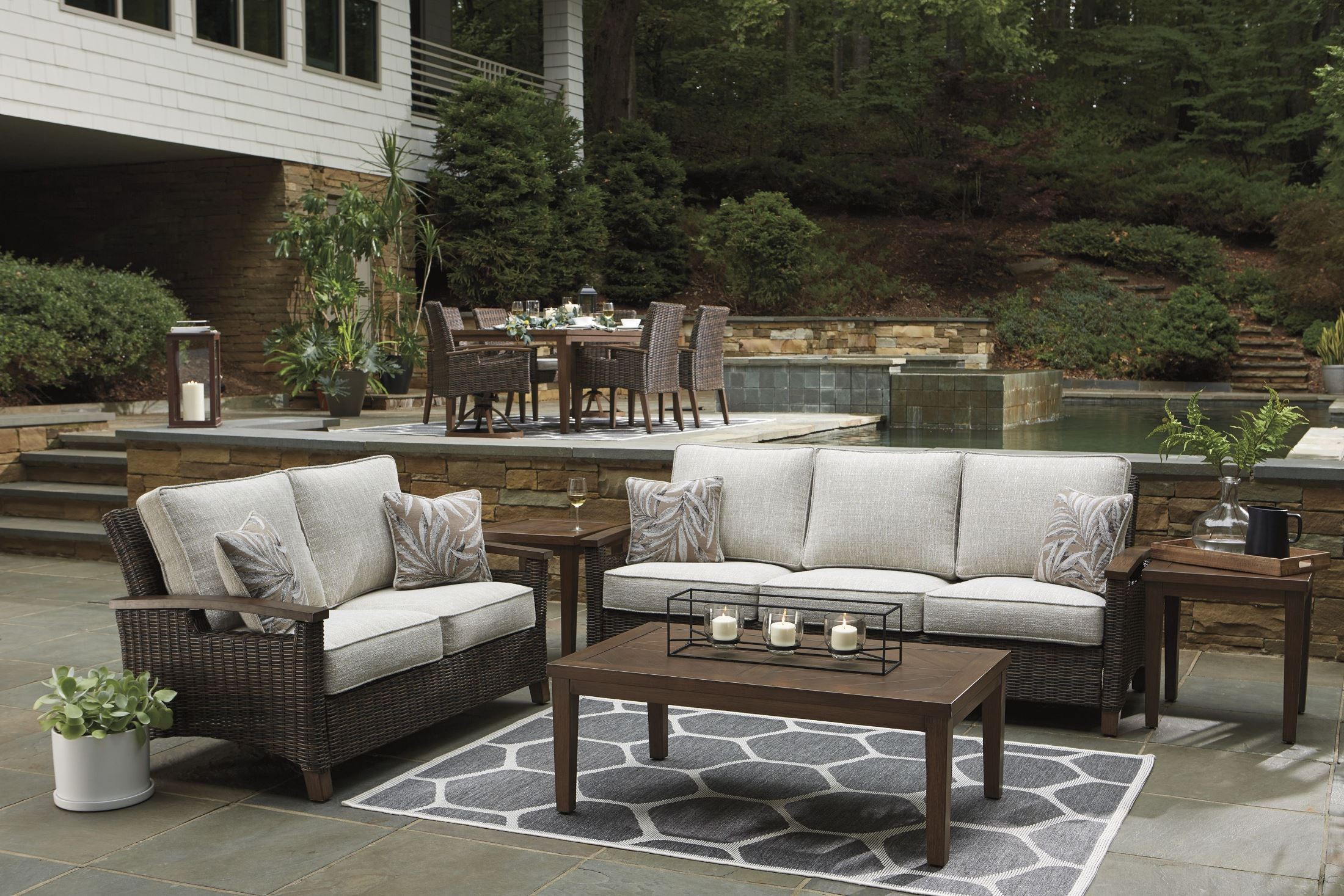 Paradise Trail Medium Brown Outdoor Living Room Set with ... on Patio Living Room Set id=37431