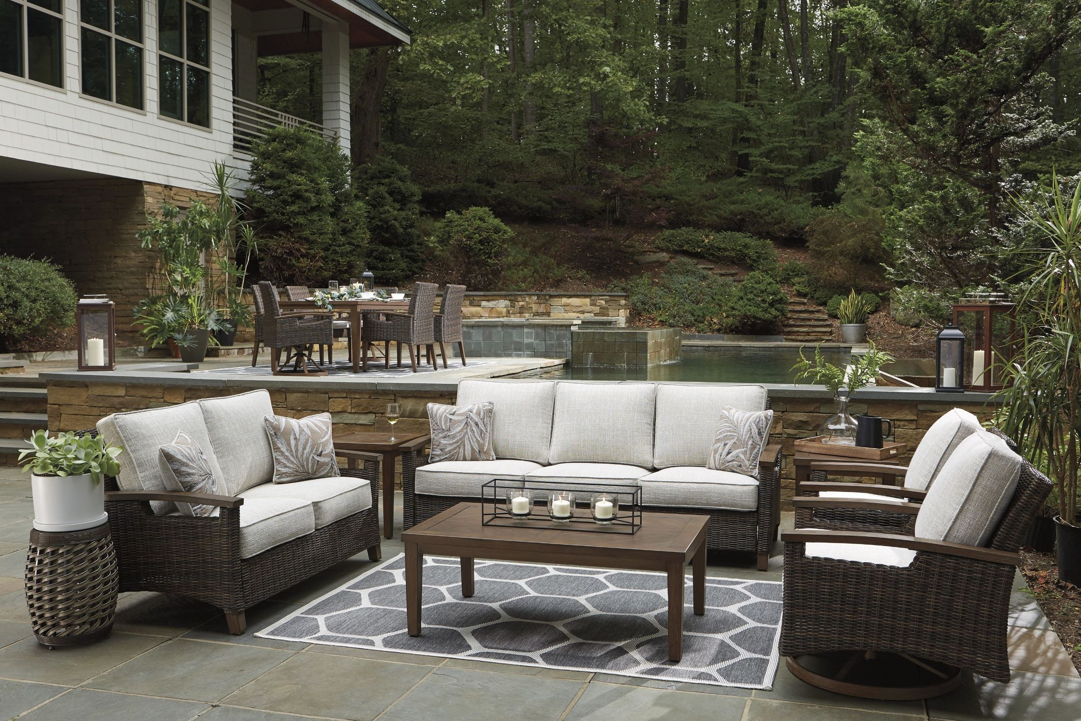 Paradise Trail Medium Brown Outdoor Living Room Set with ... on Outdoor Living Room Set id=46202