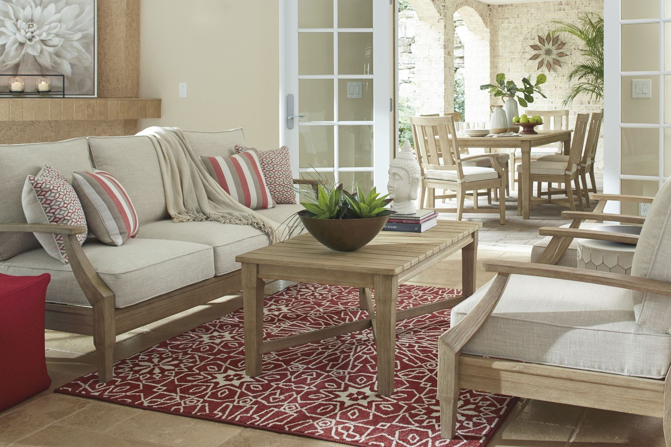 Clare View Beige Outdoor Living Room Set with Cushion ... on Outdoor Living Room Set id=20716