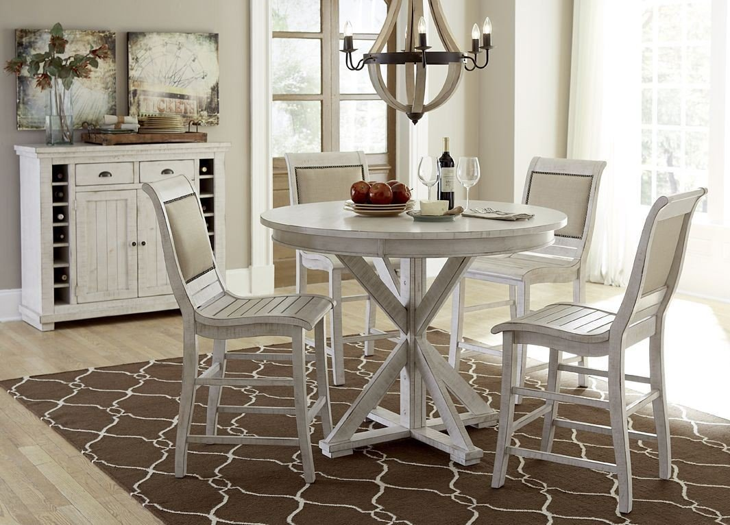 Distressed White Oak Dining Chairs: Progressive Furniture Willow Distressed White Round