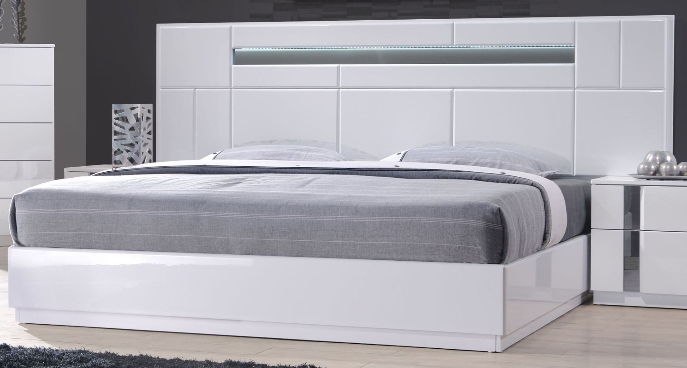 Palermo White Lacquer King Platform Bed - 1StopBedrooms.