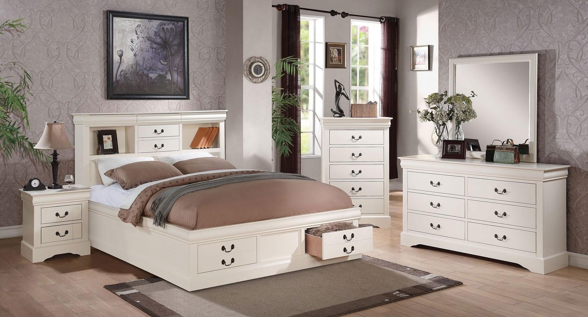 Louis philippe iii bookcase bedroom set white - Louis philippe bedroom collection ...