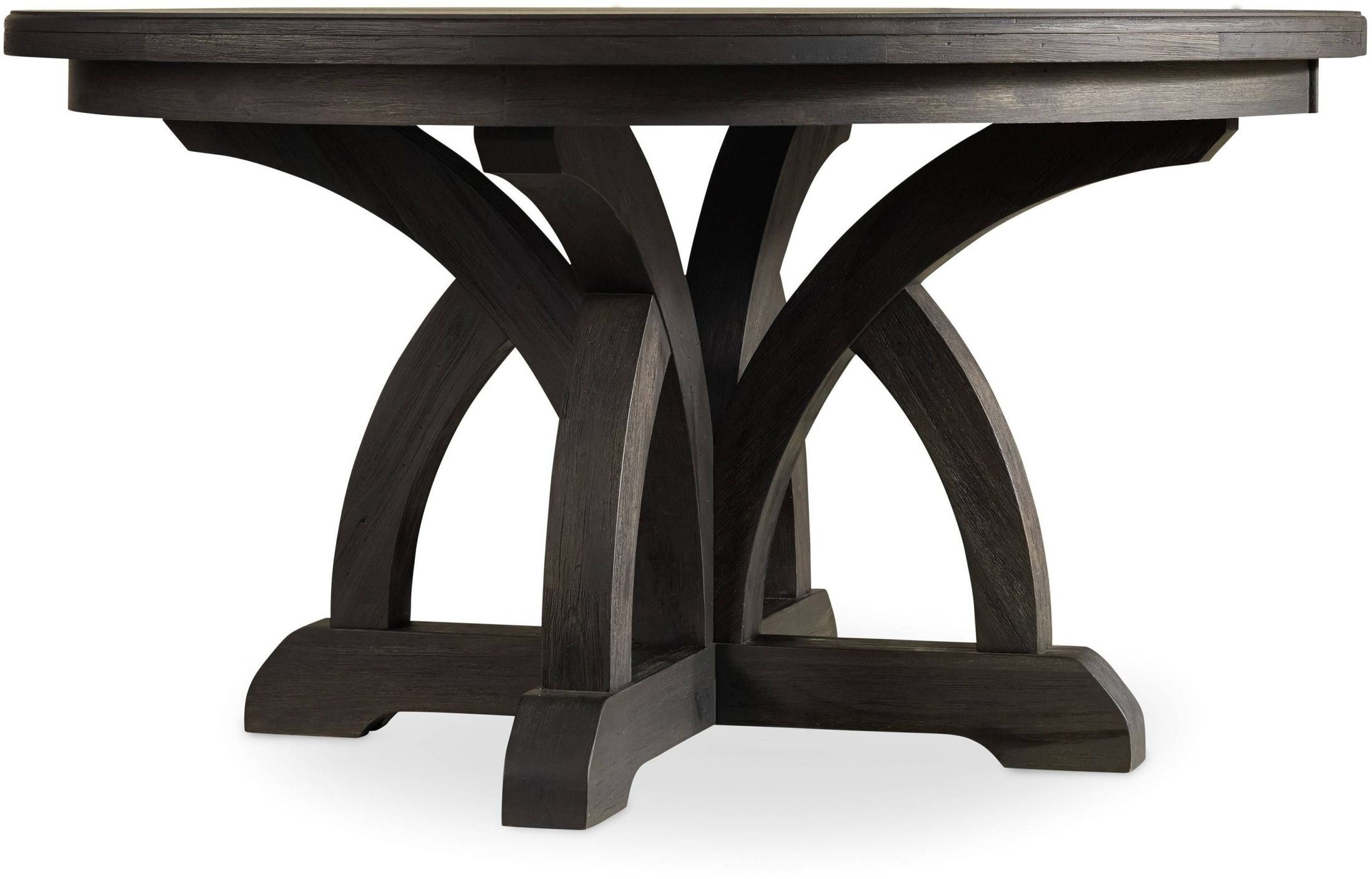 Corsica dark wood round extendable dining table media gallery
