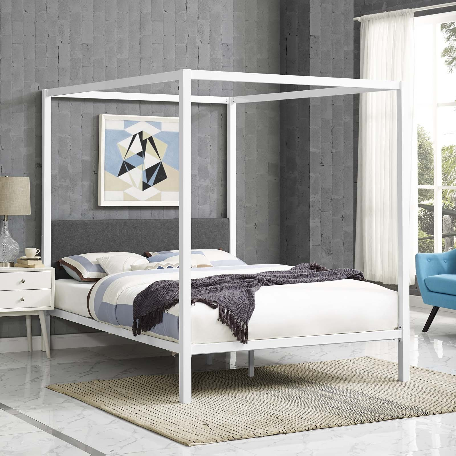 - Raina White And Gray Queen Canopy Bed Frame MOD-5570-WHI-GRY