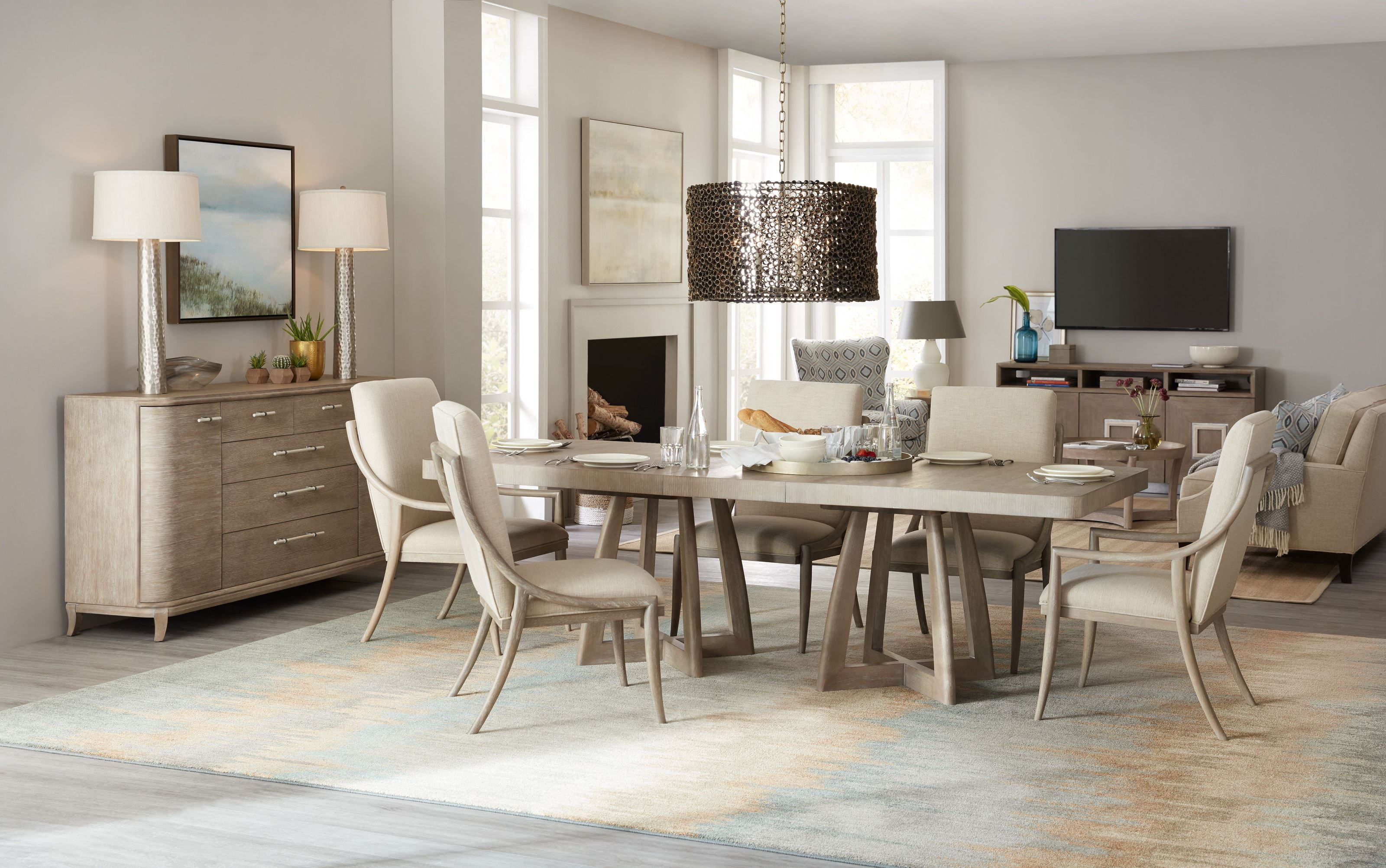 Affinity Gray 78 Rectangular Pedestal Extendable Dining Room Set 1stopbedrooms