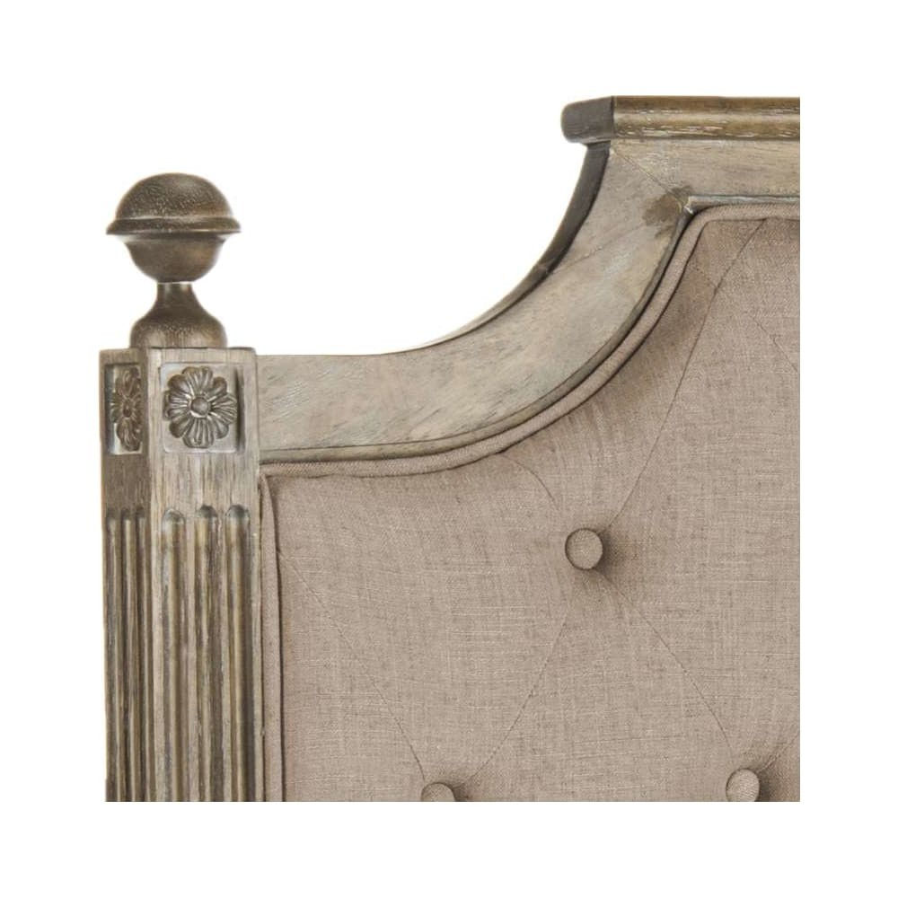 Rustic Wood Taupe Tufted Linen Twin Headboard - 1StopBedrooms.