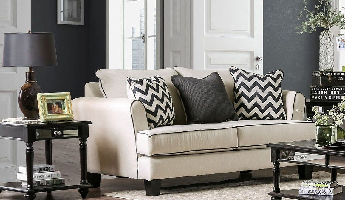 Percey Off White Living Room Set From Furniture Of America: Furniture Of America Percey Off-White Living Room Set