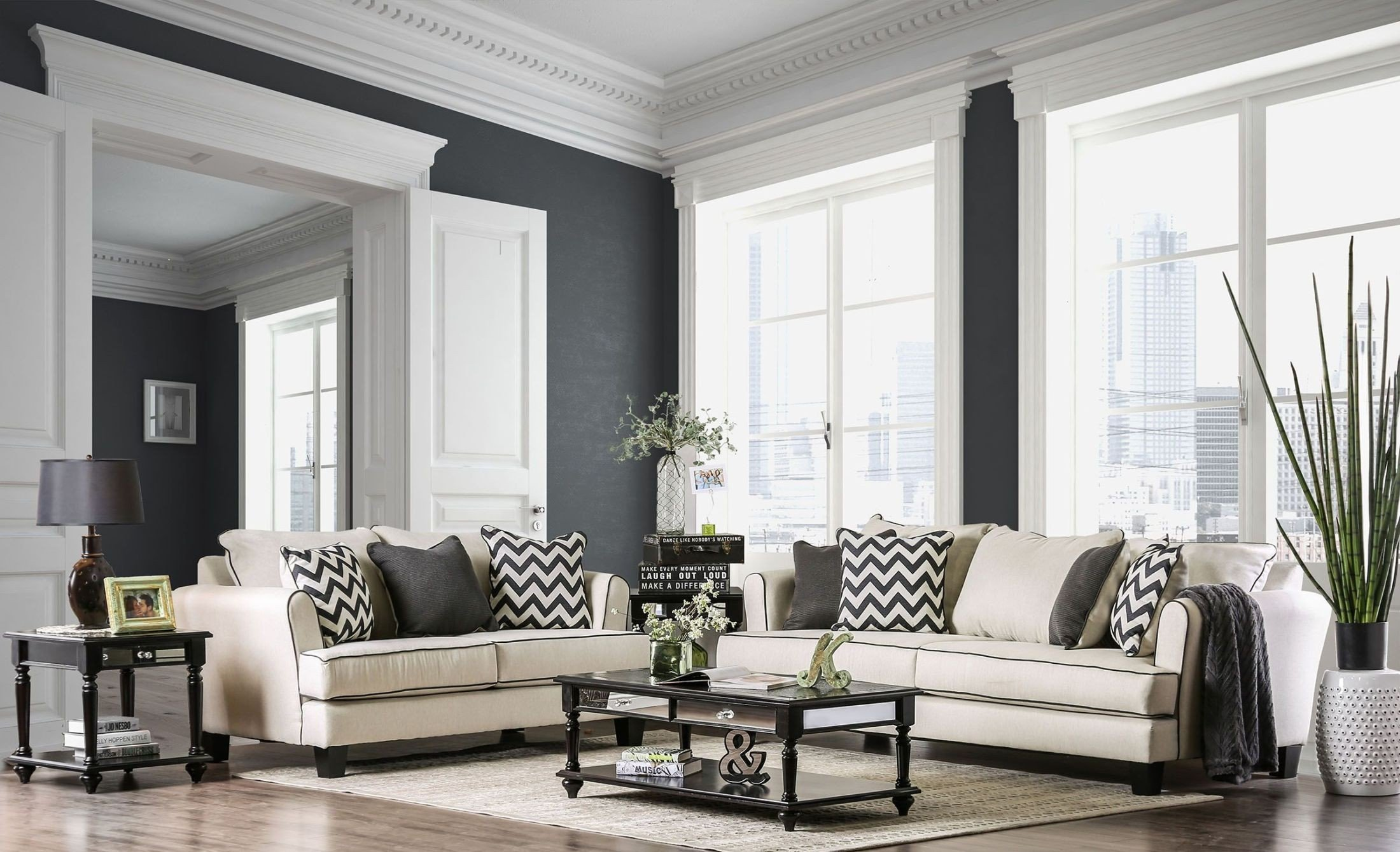 Percey Off White Living Room Set Media Gallery