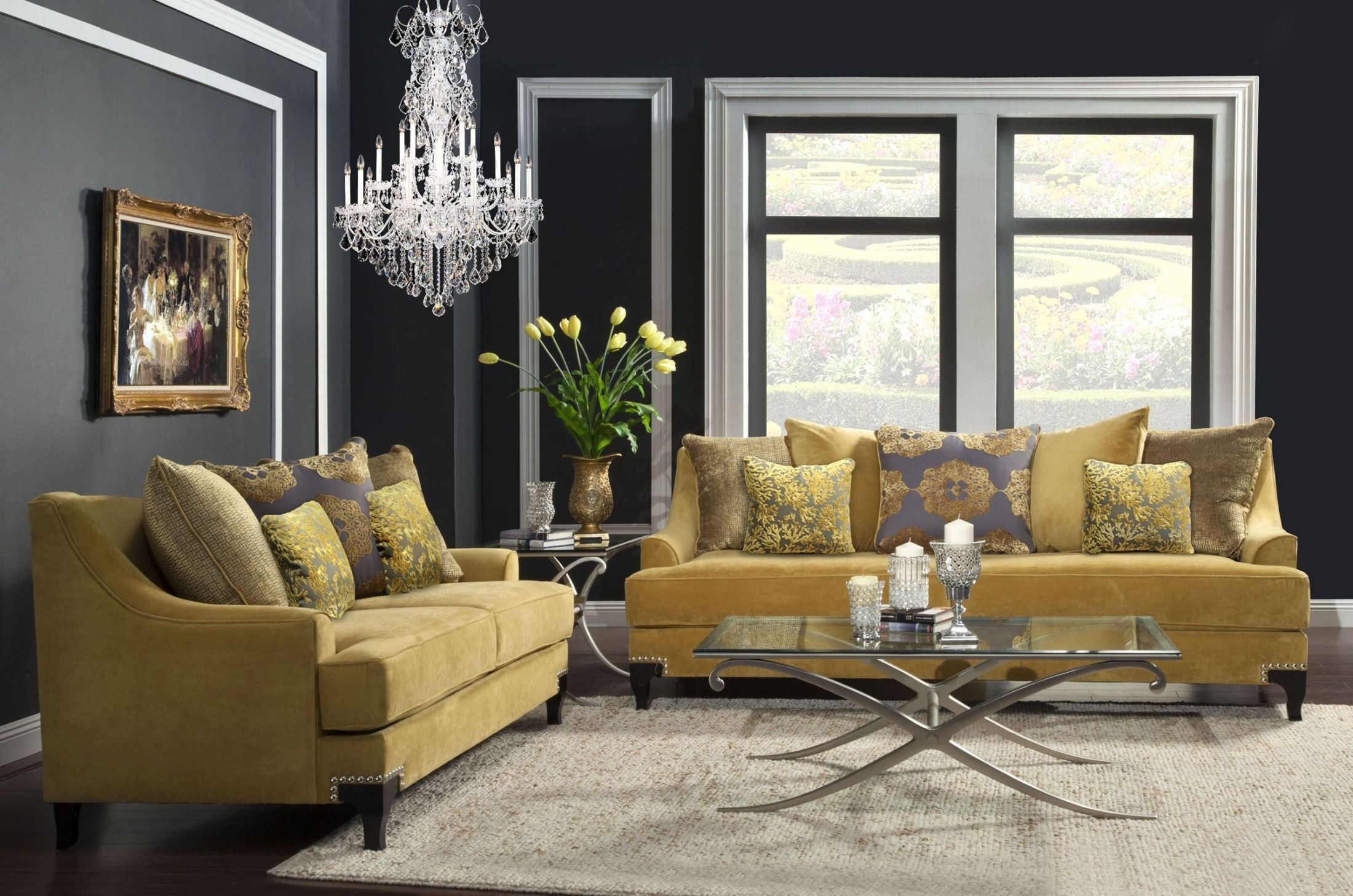 Surprising Viscontti Gold Living Room Set Interior Design Ideas Tzicisoteloinfo