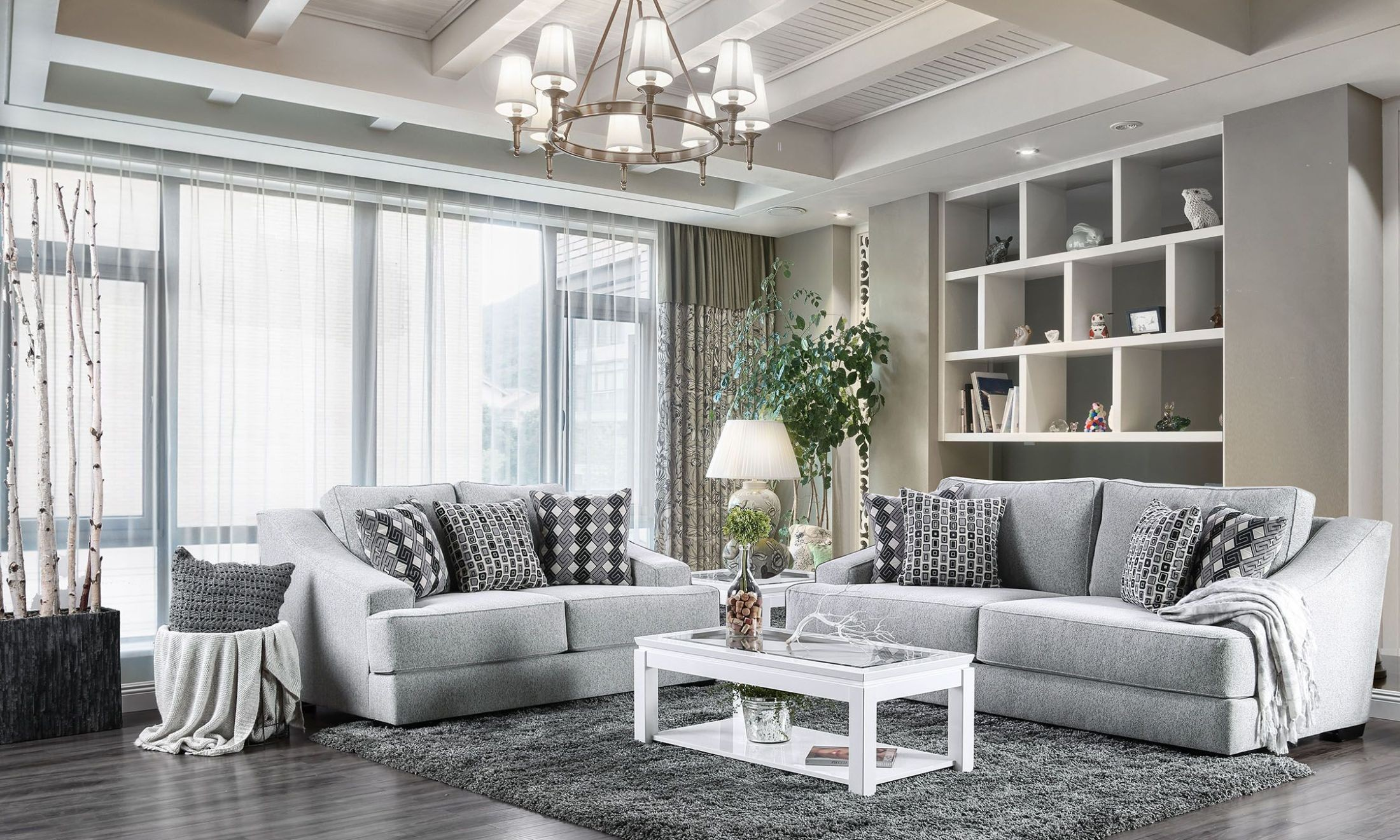 incredible living room wall color | Lesath Light Gray Living Room Set - 1StopBedrooms.