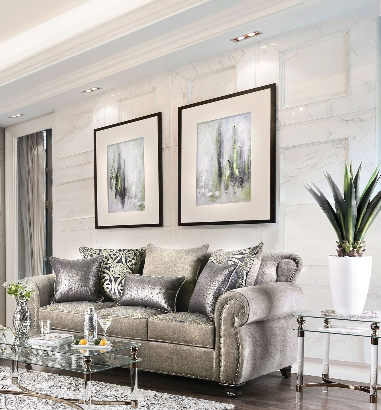 Furniture Of America Living Room Collections: Furniture Of America Sinatra Silver Living Room Set