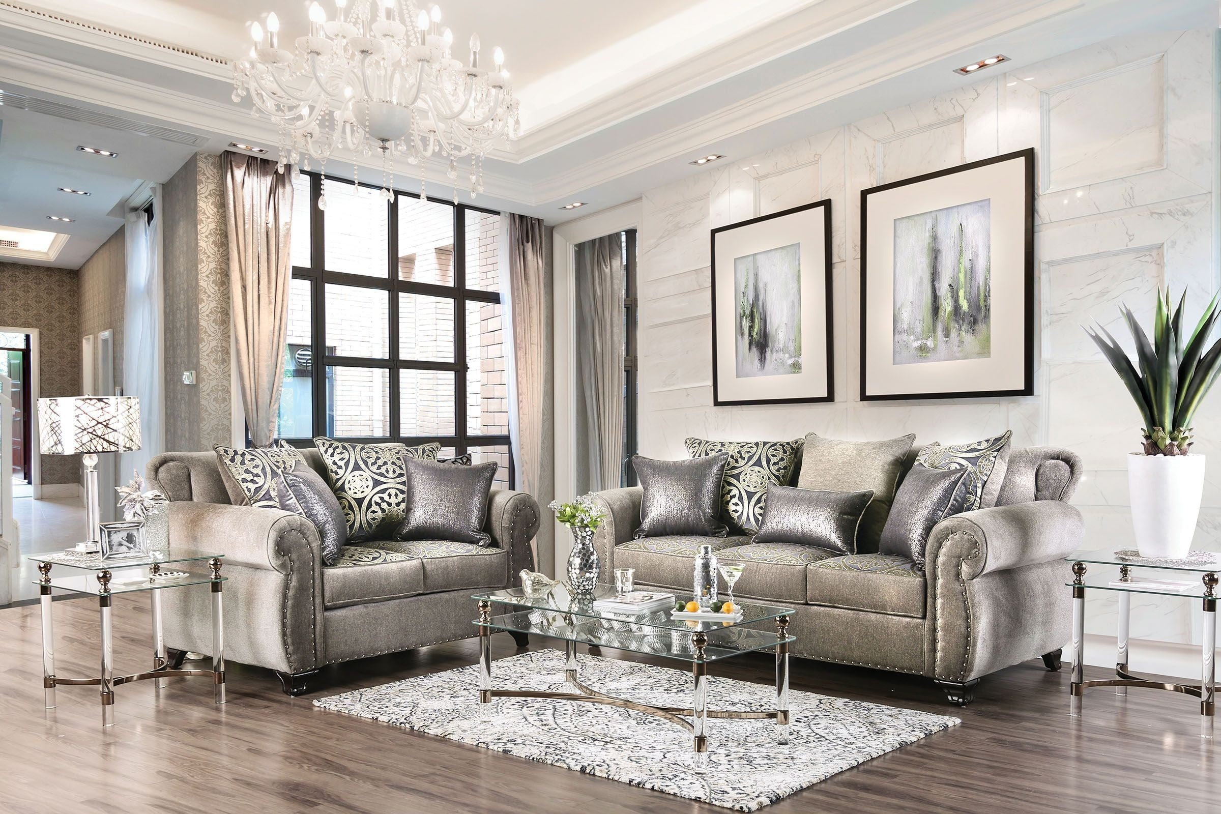 Sinatra Silver Living Room Set 1stopbedrooms