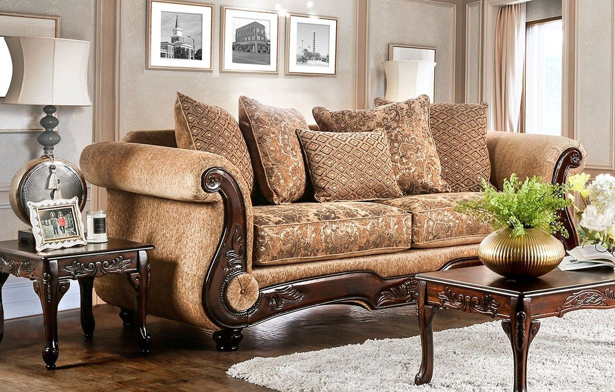 lovely living room setting   Nicanor Tan and Gold Living Room Set - 1StopBedrooms.