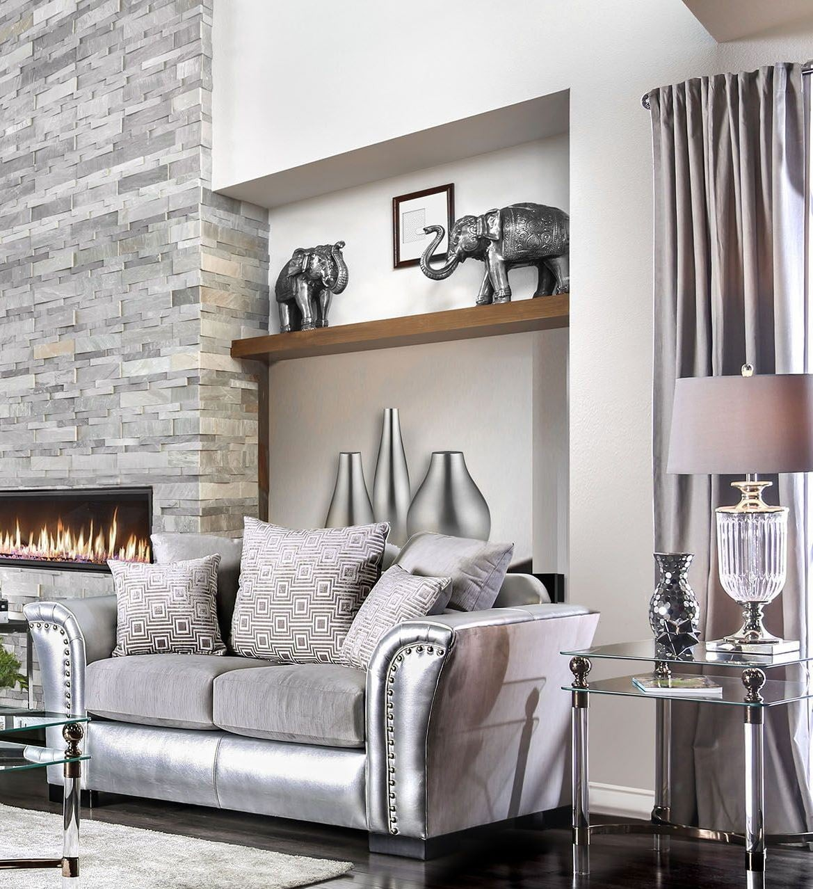 Furniture Of America Living Room Collections: Furniture Of America Benigno Silver Living Room Set