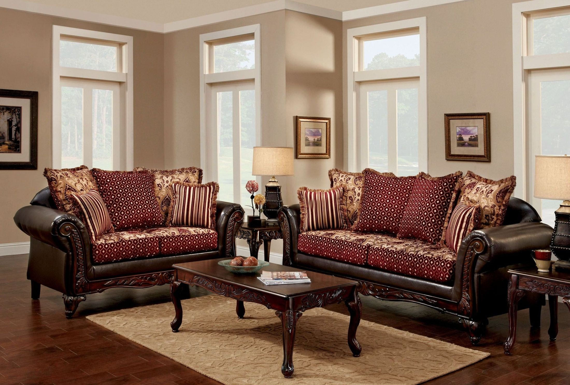 Ellis Brown and Burgundy Sofa - 1StopBedrooms.