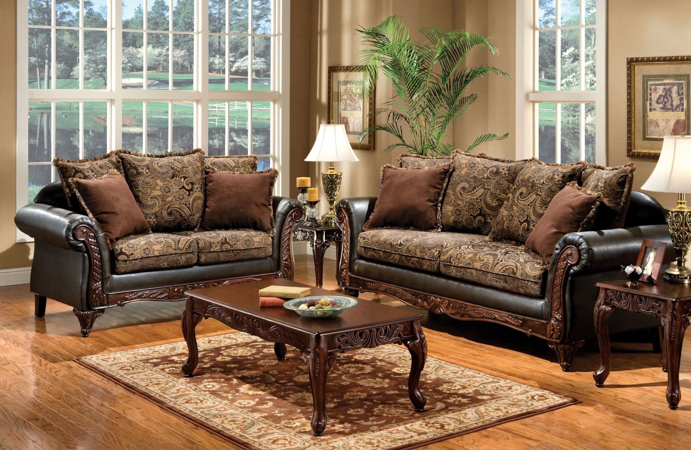 Furniture of America Rotherham Fabric and Leatherette Living Room ...
