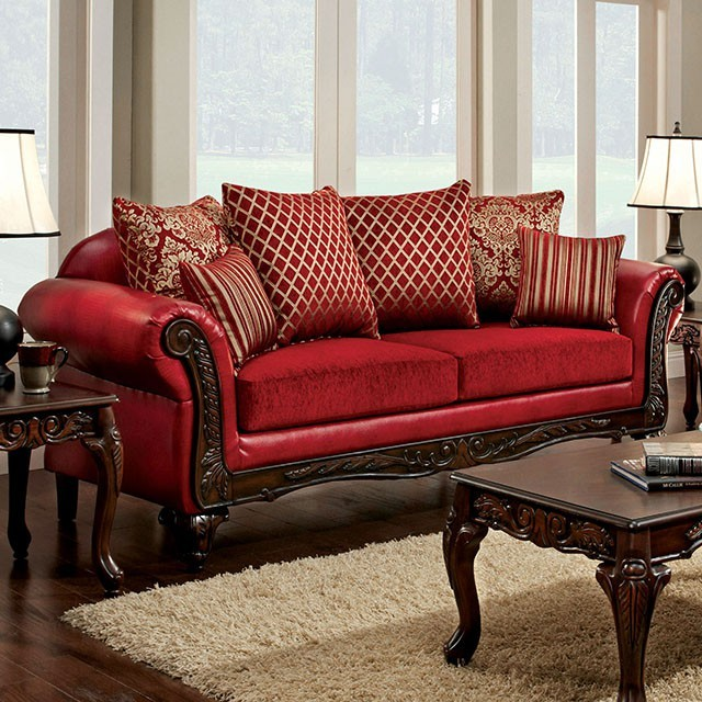 Furniture Of America Marcus Red Living Room Set