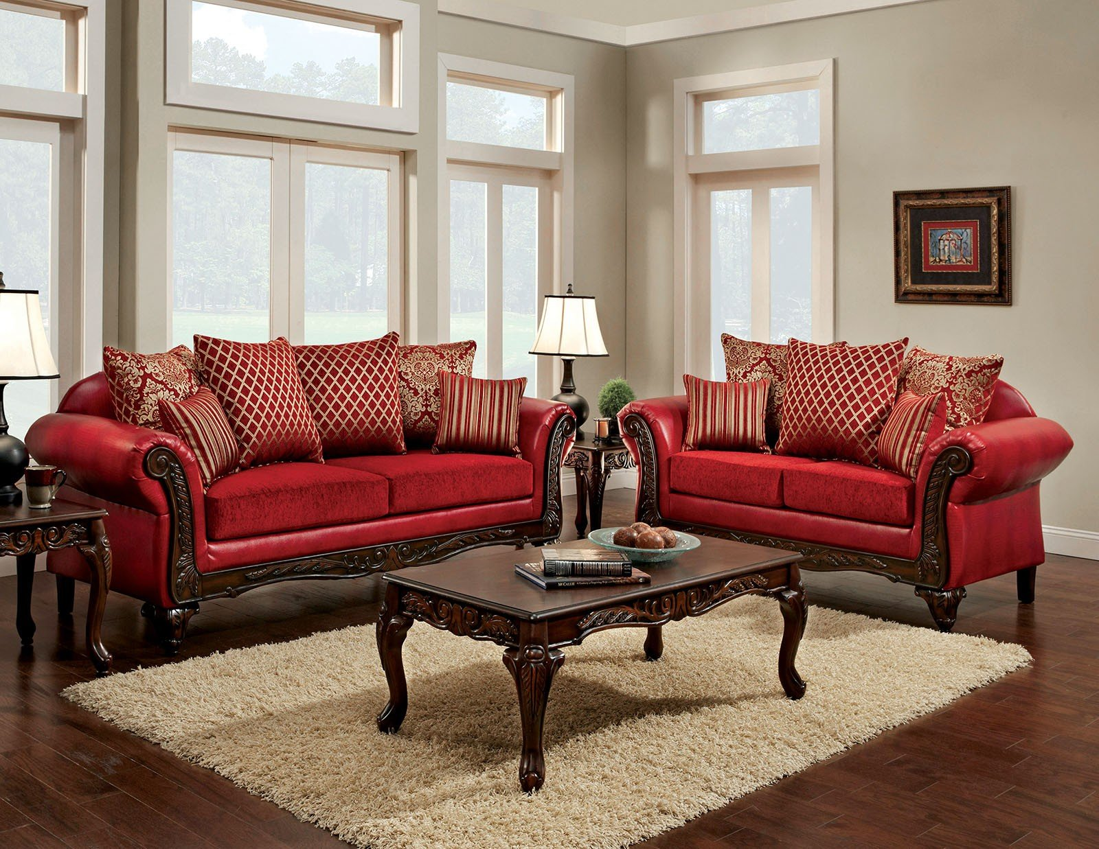 Furniture of America Marcus Red Living Room Set - Marcus Collection ...