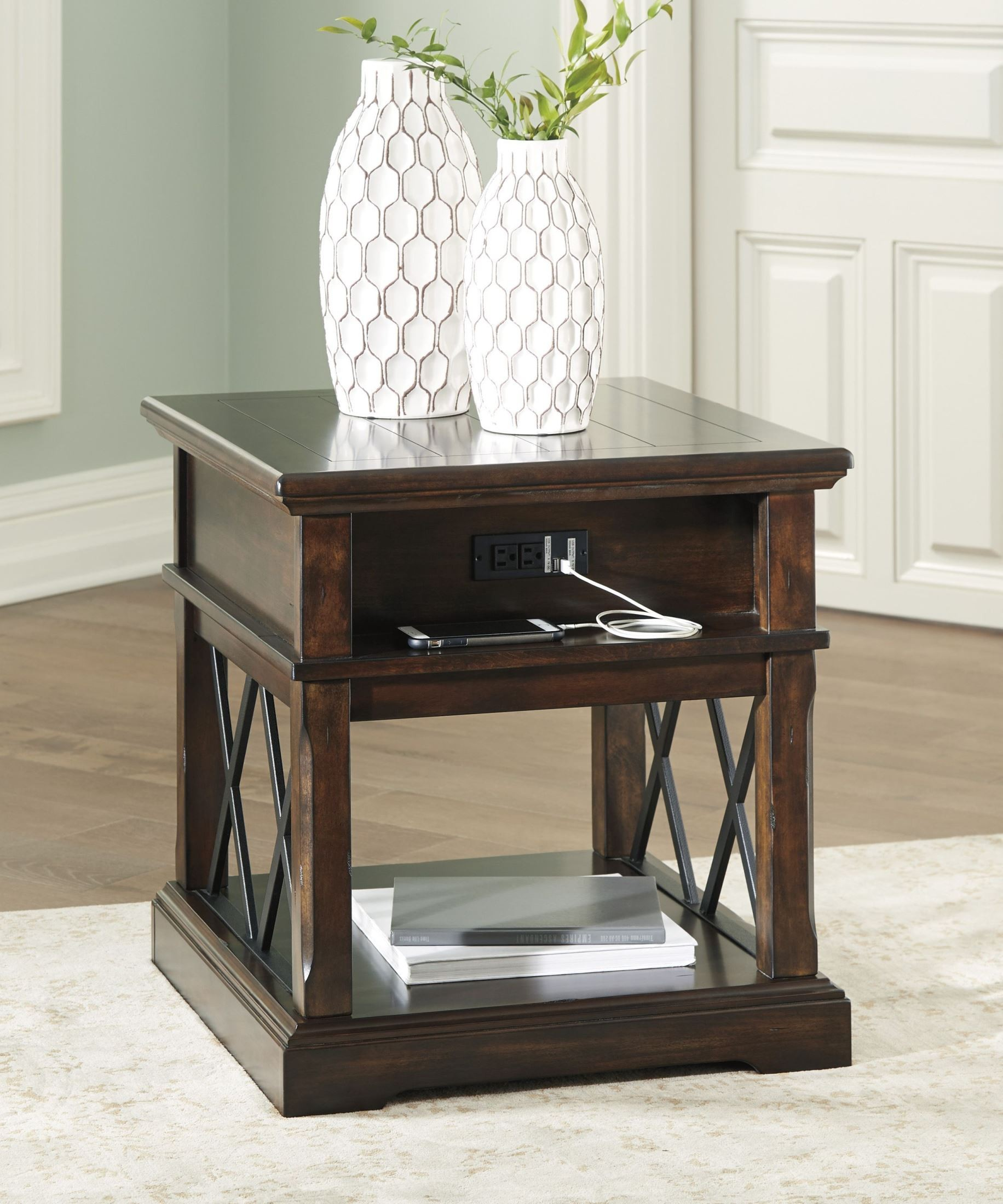 Roddinton Dark Brown Rectangular End Table 1stopbedrooms